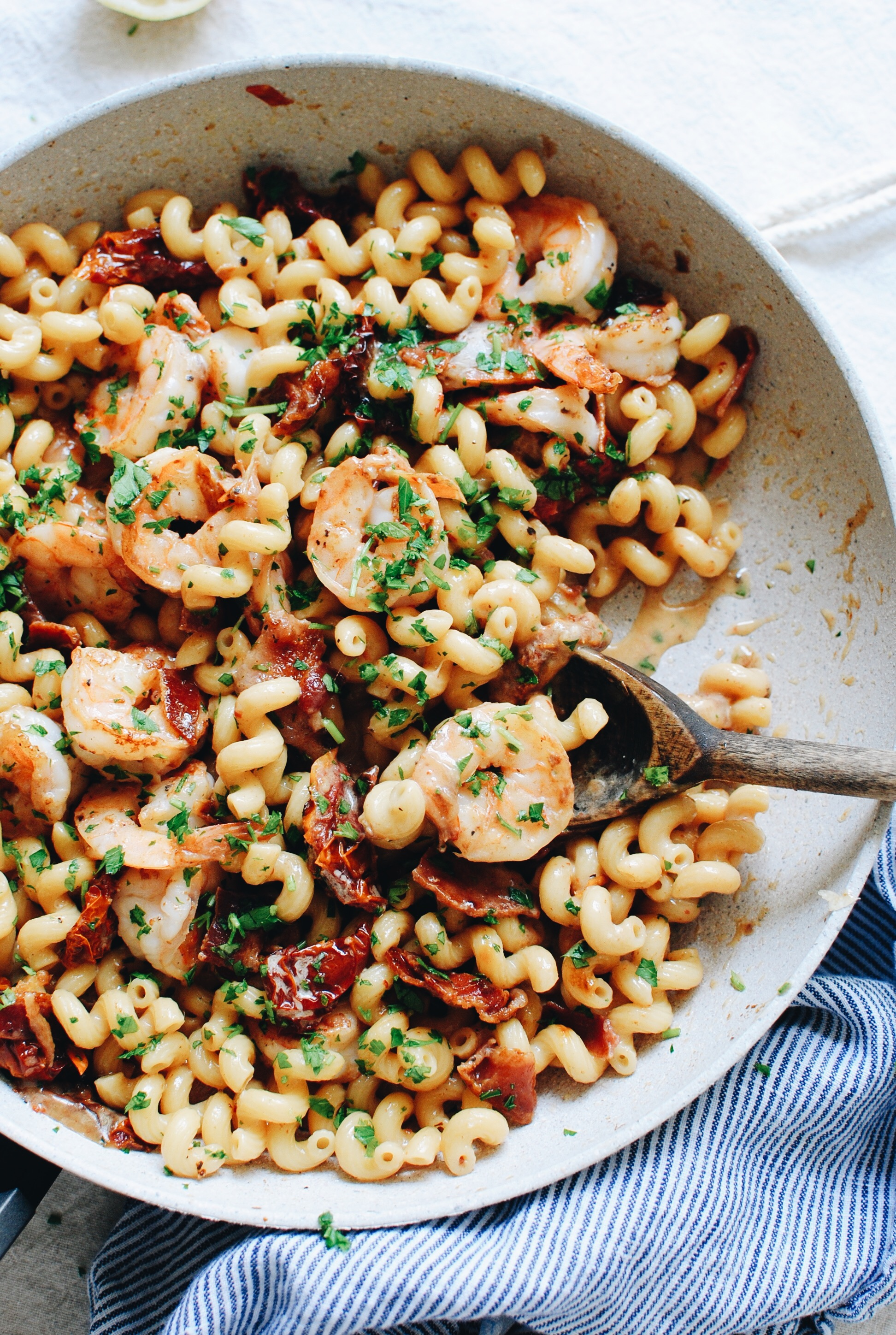 Cheesy Shrimp Pasta with Sun-Dried Tomatoes and Bacon / Bev Cooks