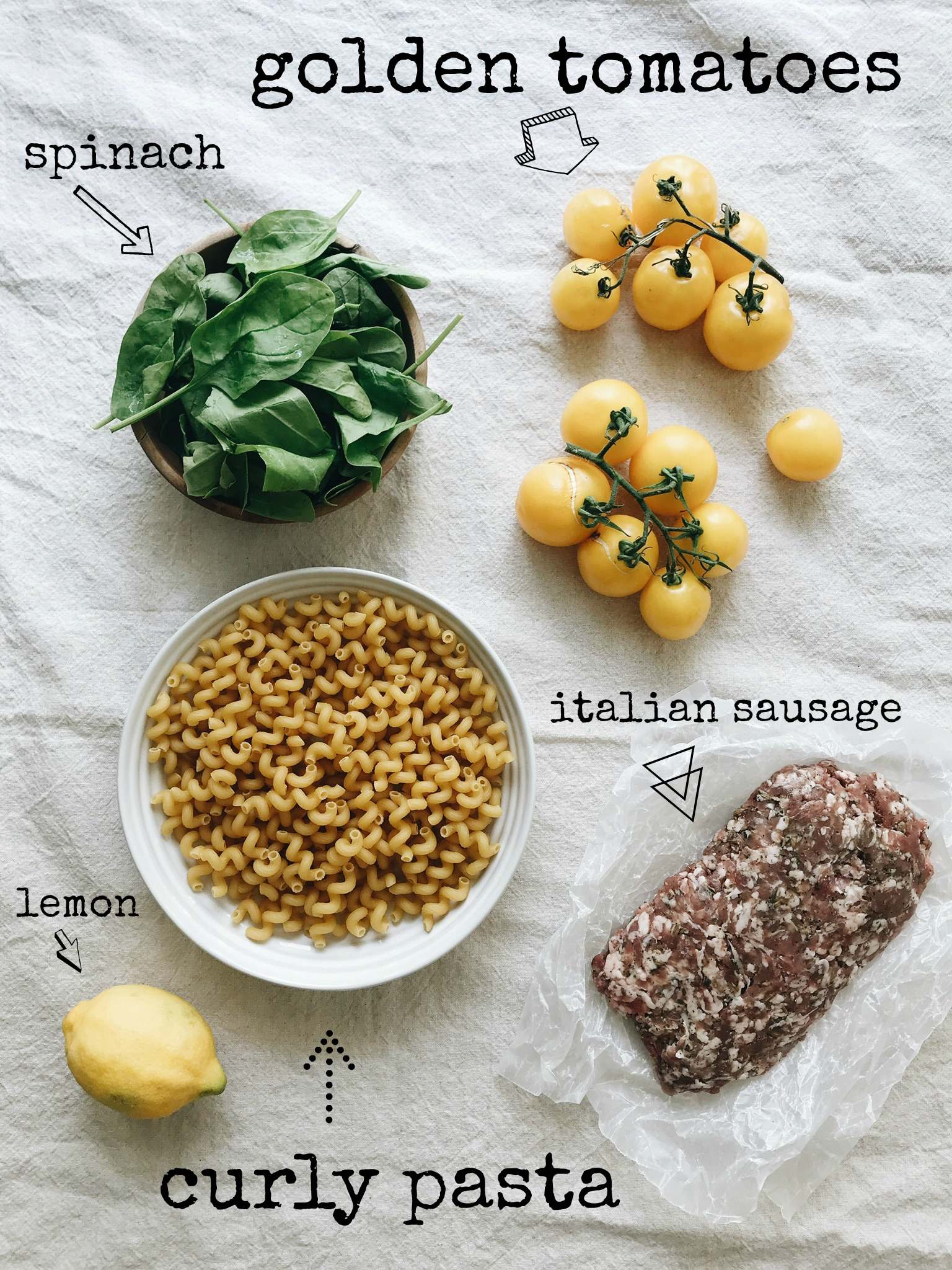 Curly Pasta with Roasted Golden Tomatoes and Sausage / Bev Cooks