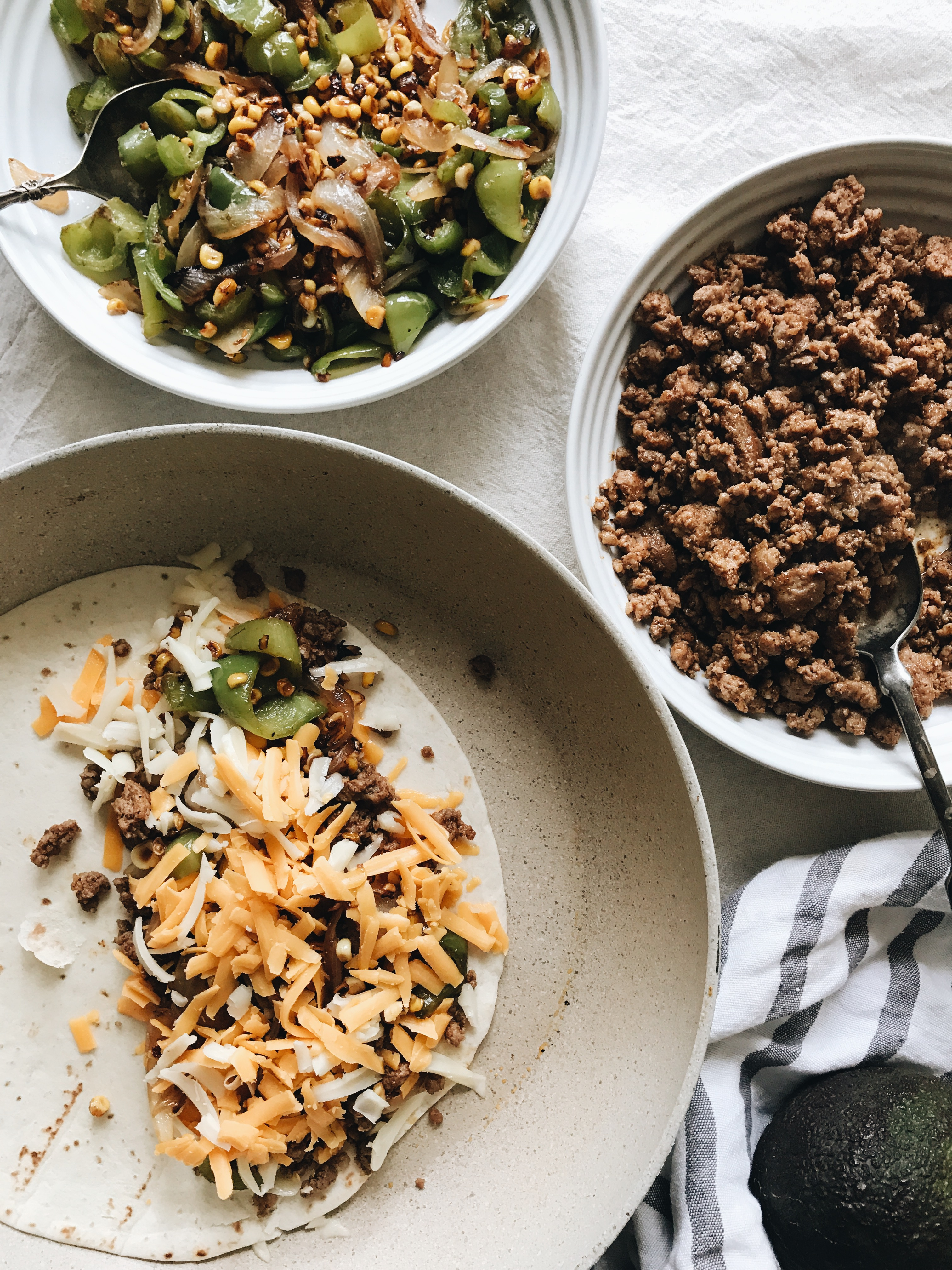 Pork Fajita Quesadillas / Bev Cooks