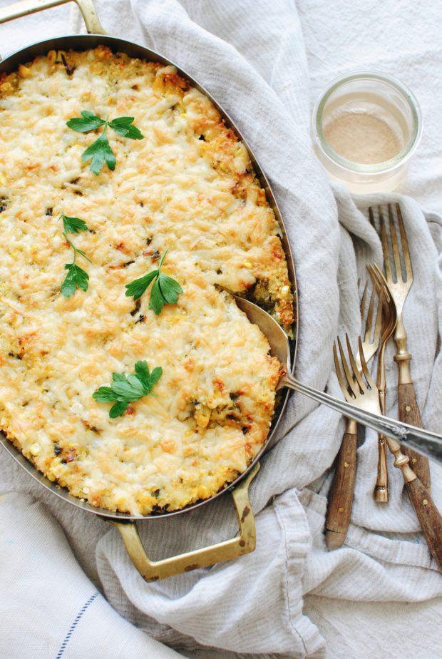 Roasted Poblano Corn and Quinoa Casserole / Bev Cooks