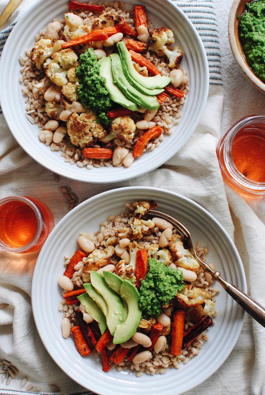 Roasted Vegetable Grain Bowl with Kale Pesto / Bev Cooks