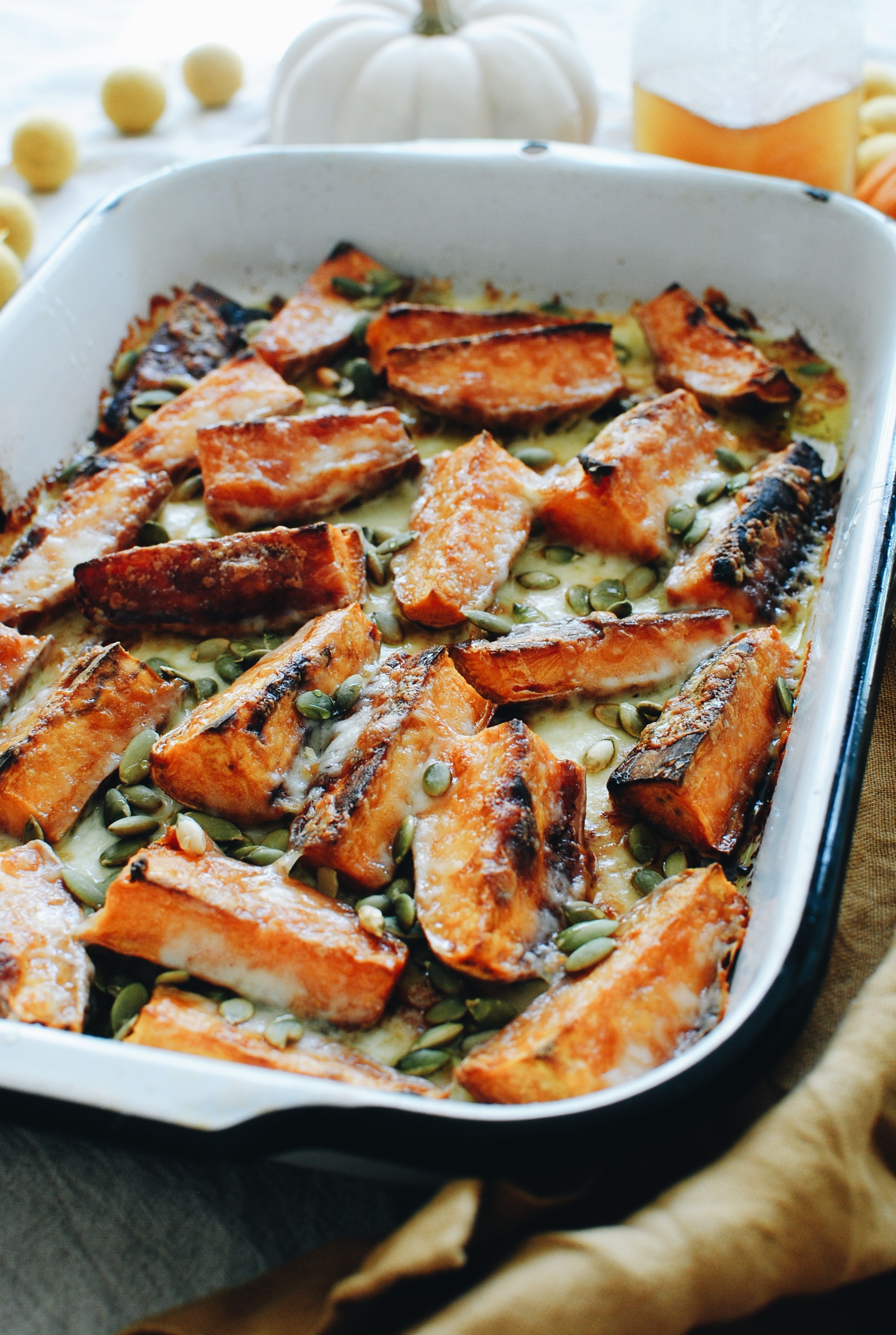 Baked Cheesy Sweet Potato Wedges / Bev Cooks