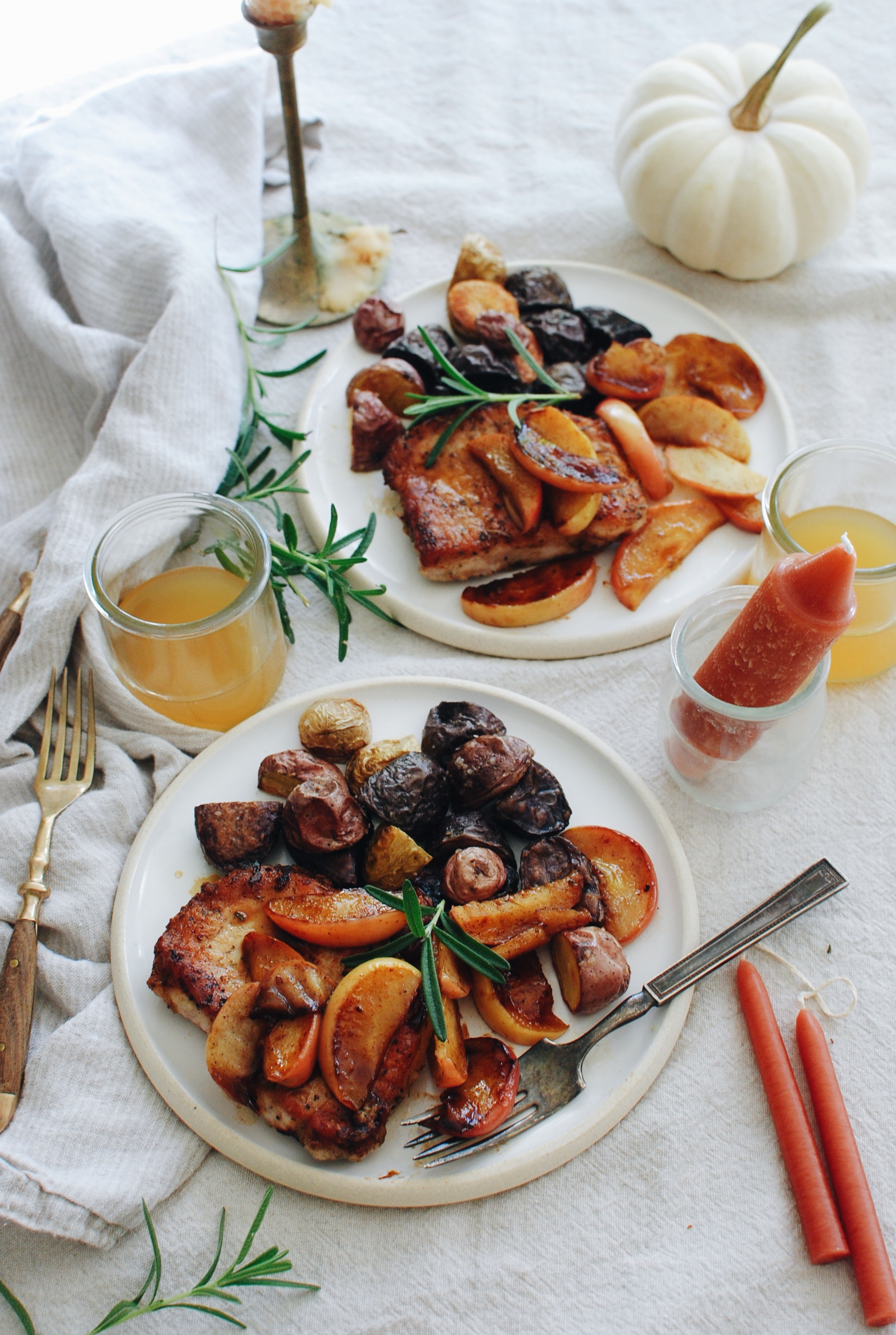 Pork Chops with Sautéed Apples and Roasted Potatoes / Bev Cooks