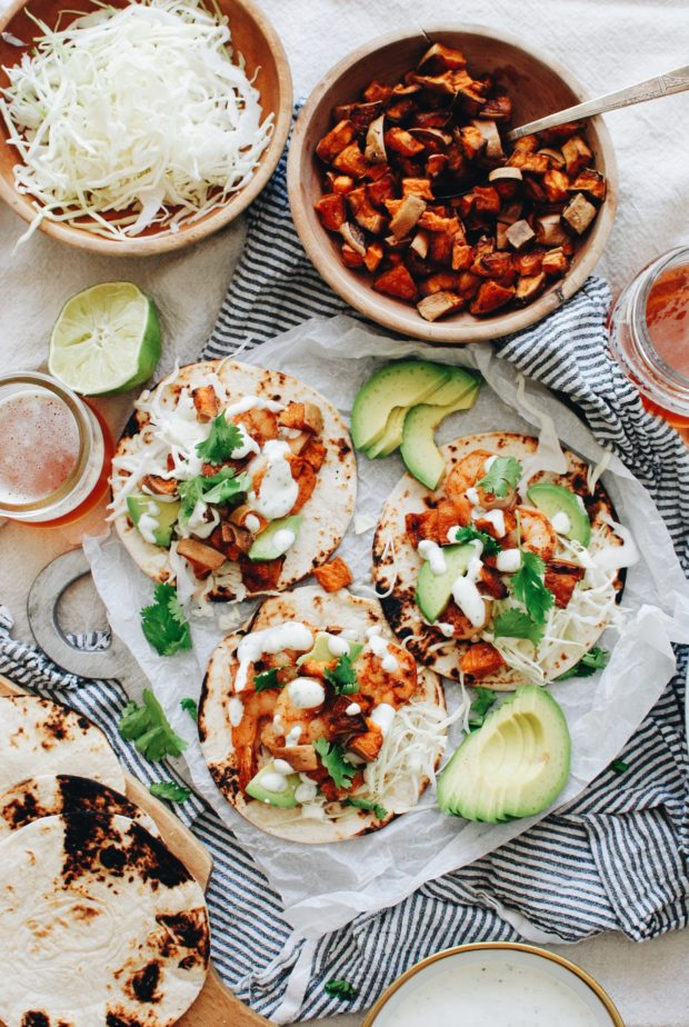 Shrimp and Cabbage Tacos with a Roasted Garlic Crema / Bev Cooks