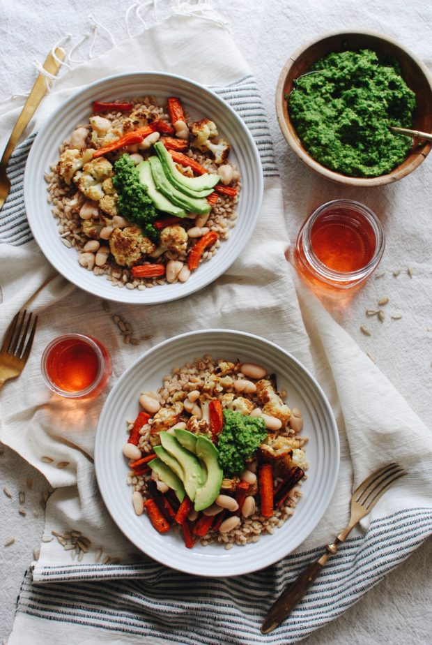 Roasted Vegetable Grain Bowl with Kale Pesto / Bev Cooks