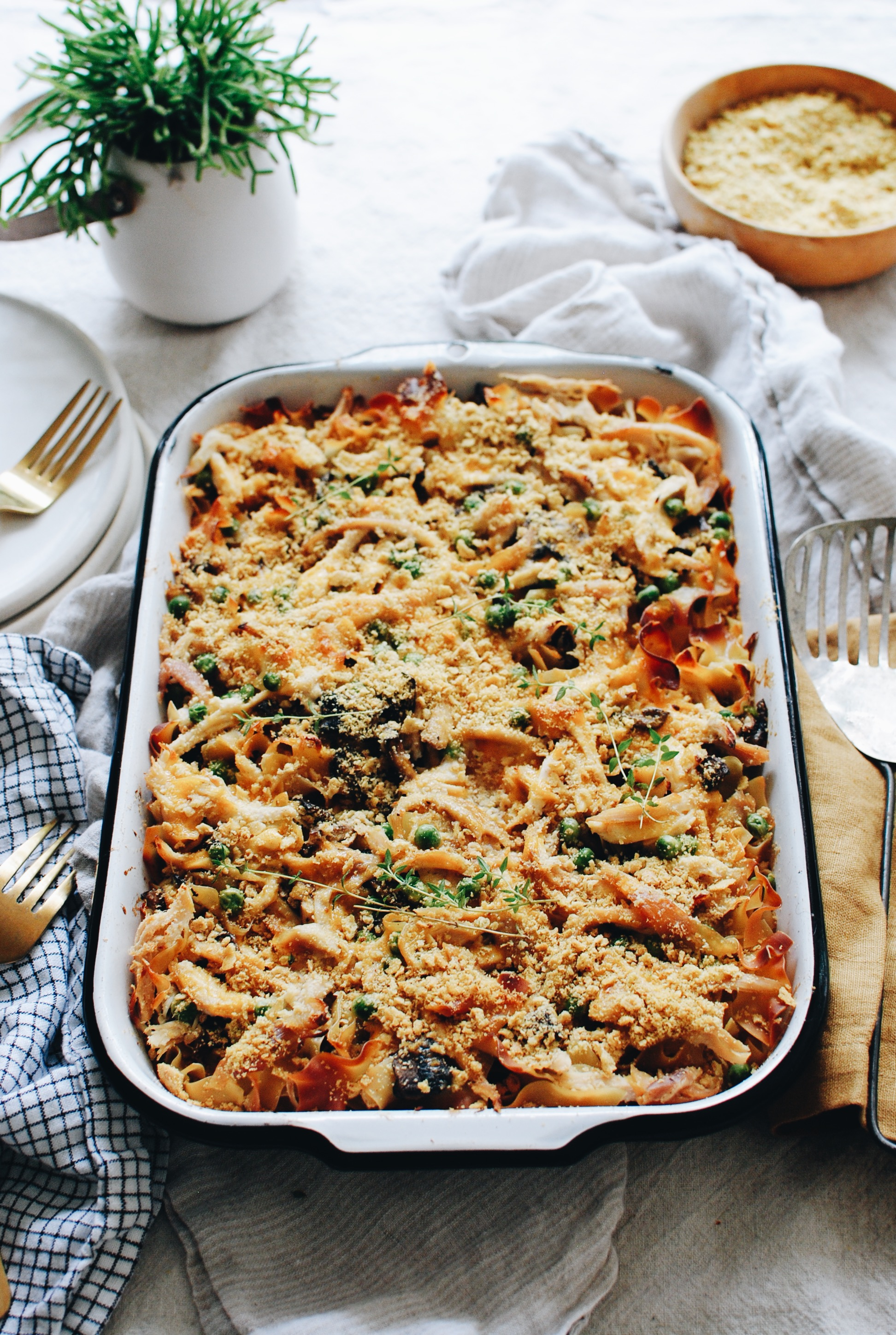 Chicken and Mushroom Noodle Casserole / Bev Cooks