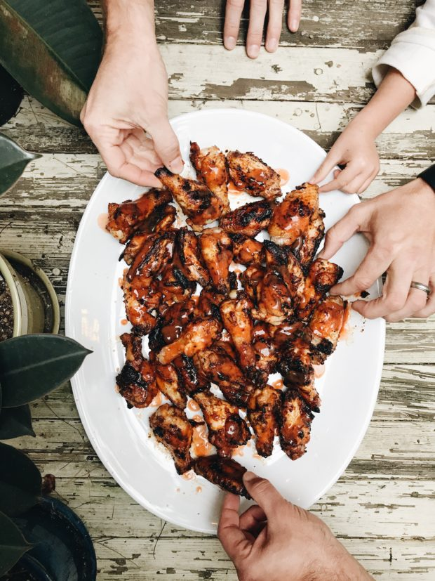 Grilled Buffalo Chicken Wings / Bev Cooks