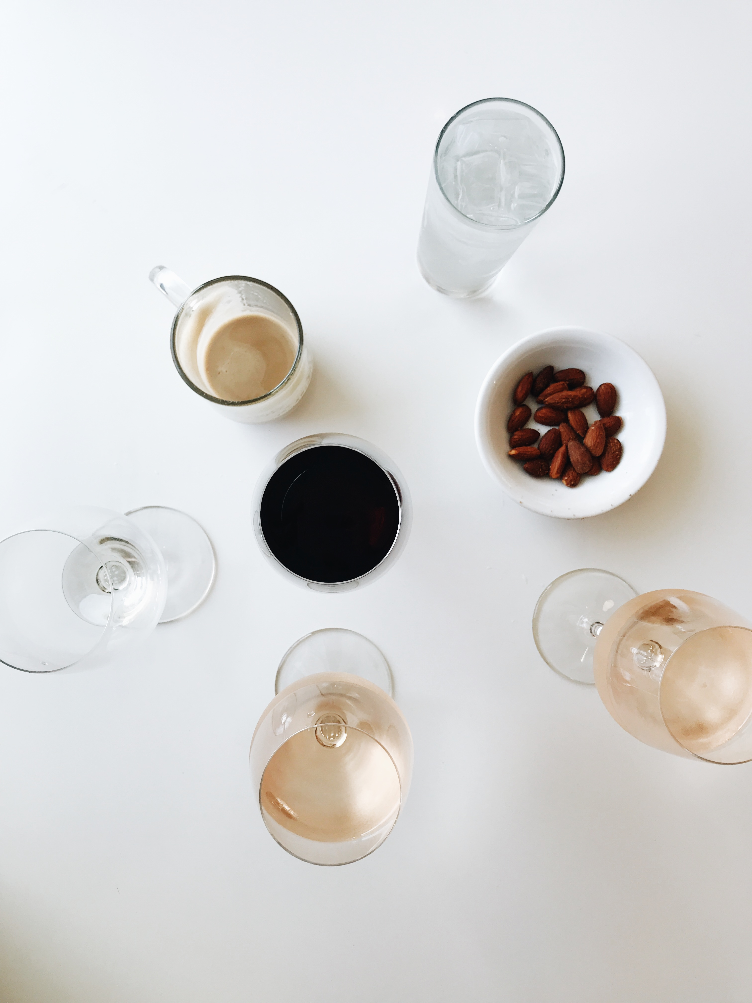 rosé, coffee and nuts