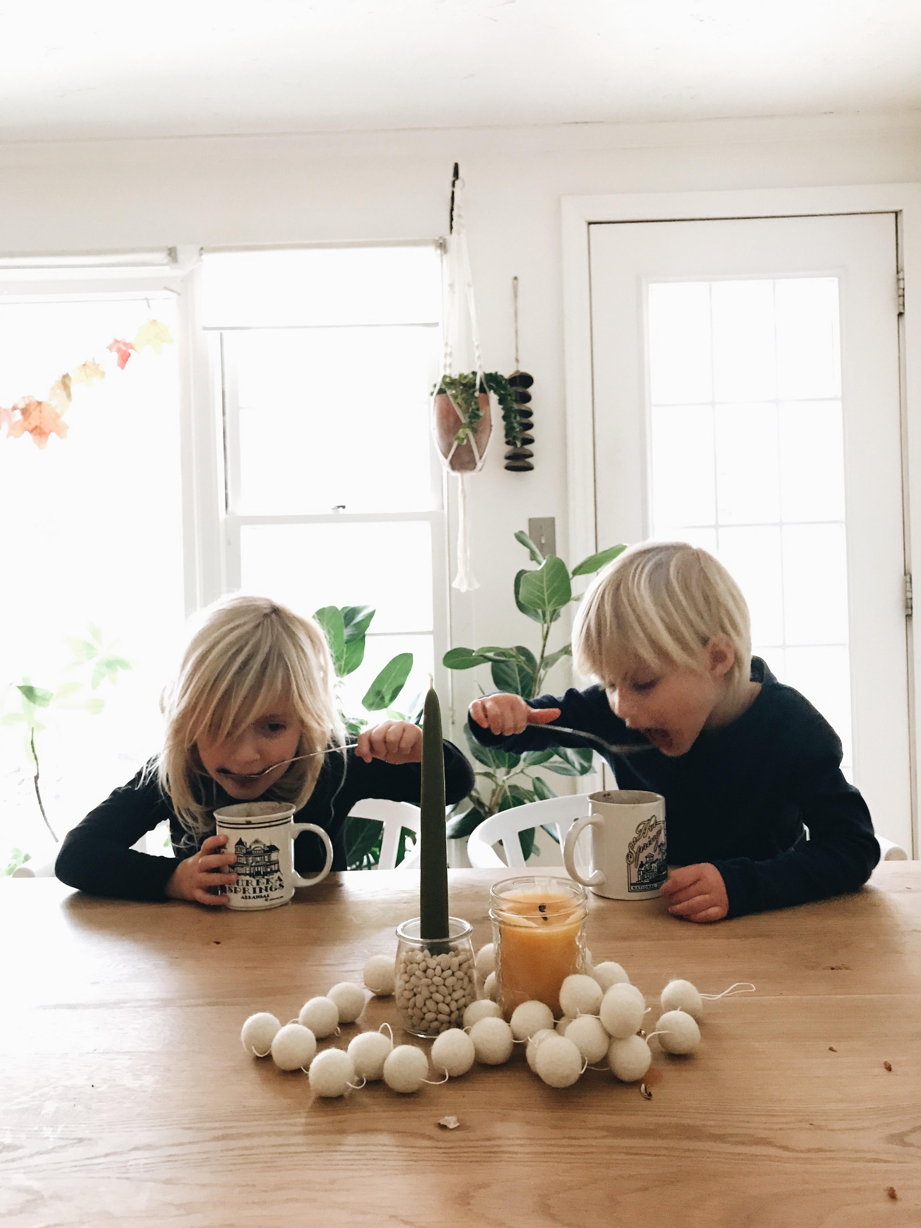 blurry kids drinking hot chocolate
