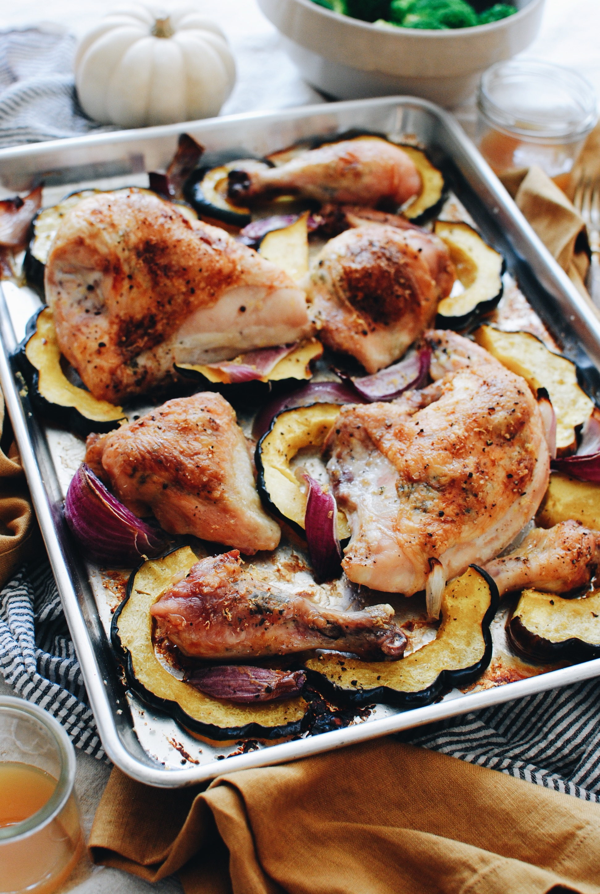 Sheet Pan Roasted Chicken with Wine Butter and Squash / Bev Cooks