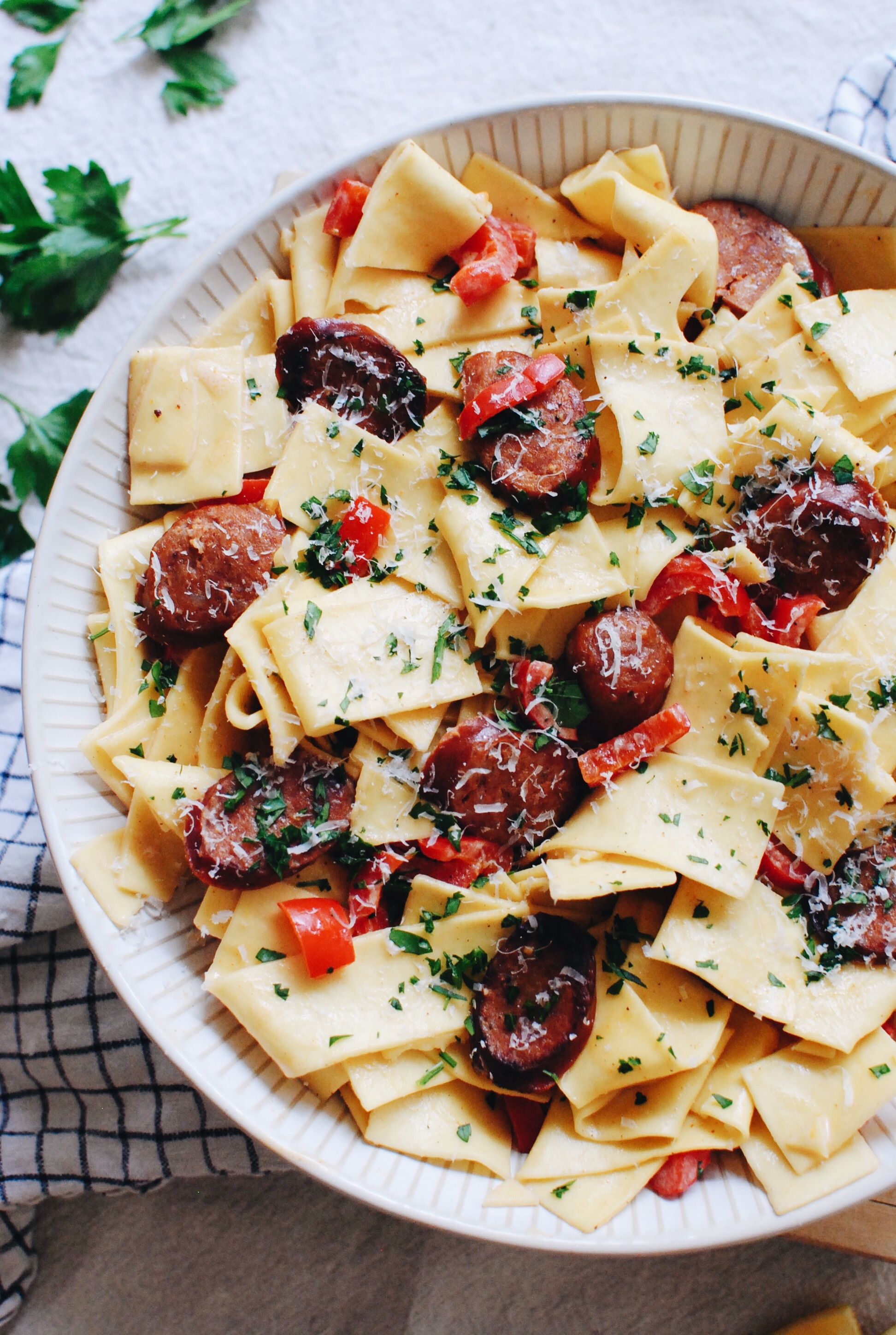 Creamy Cajun Pappardelle with Andouille Sausage / Bev Cooks