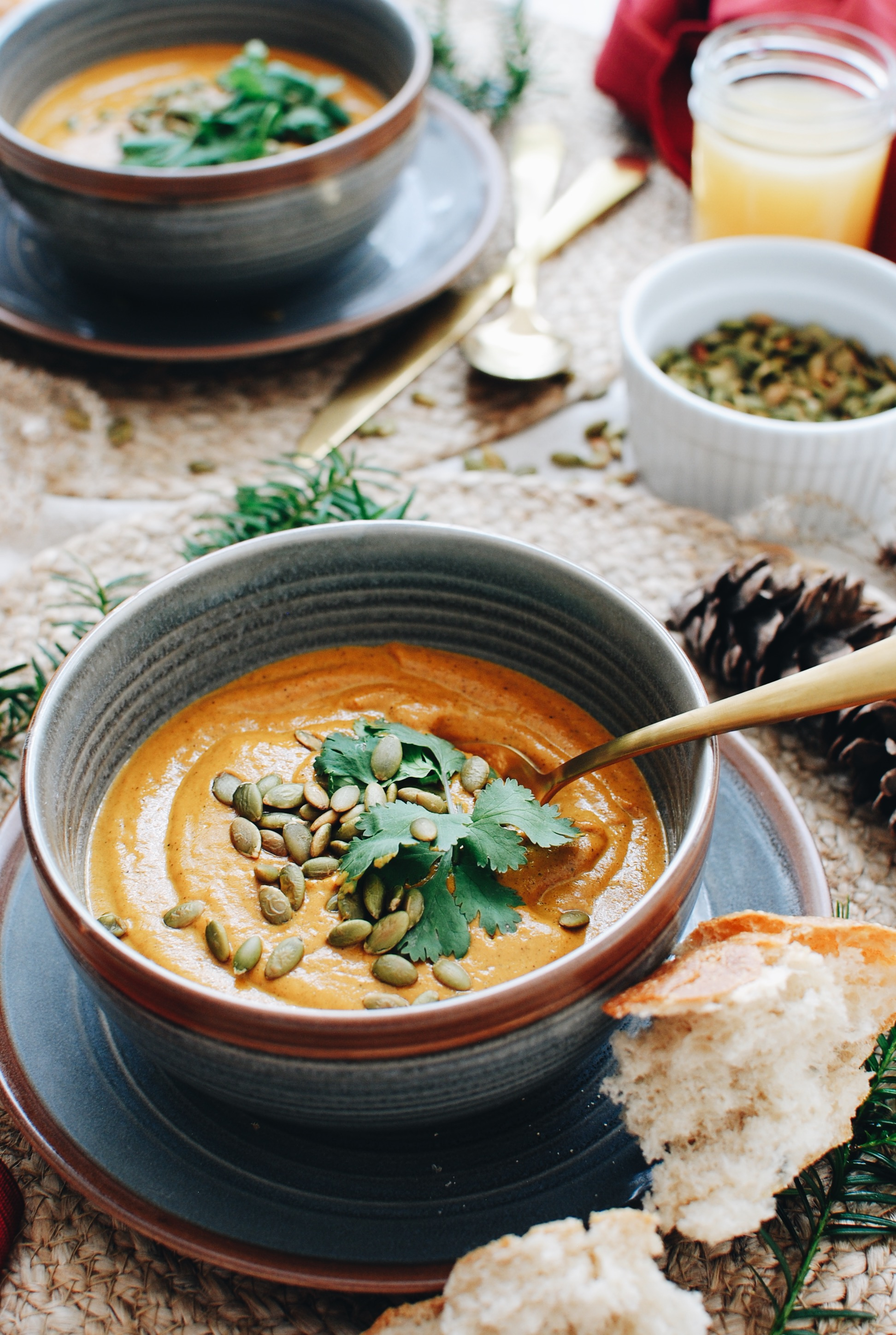 Creamy Roasted Carrot Ginger Soup / Bev Cooks