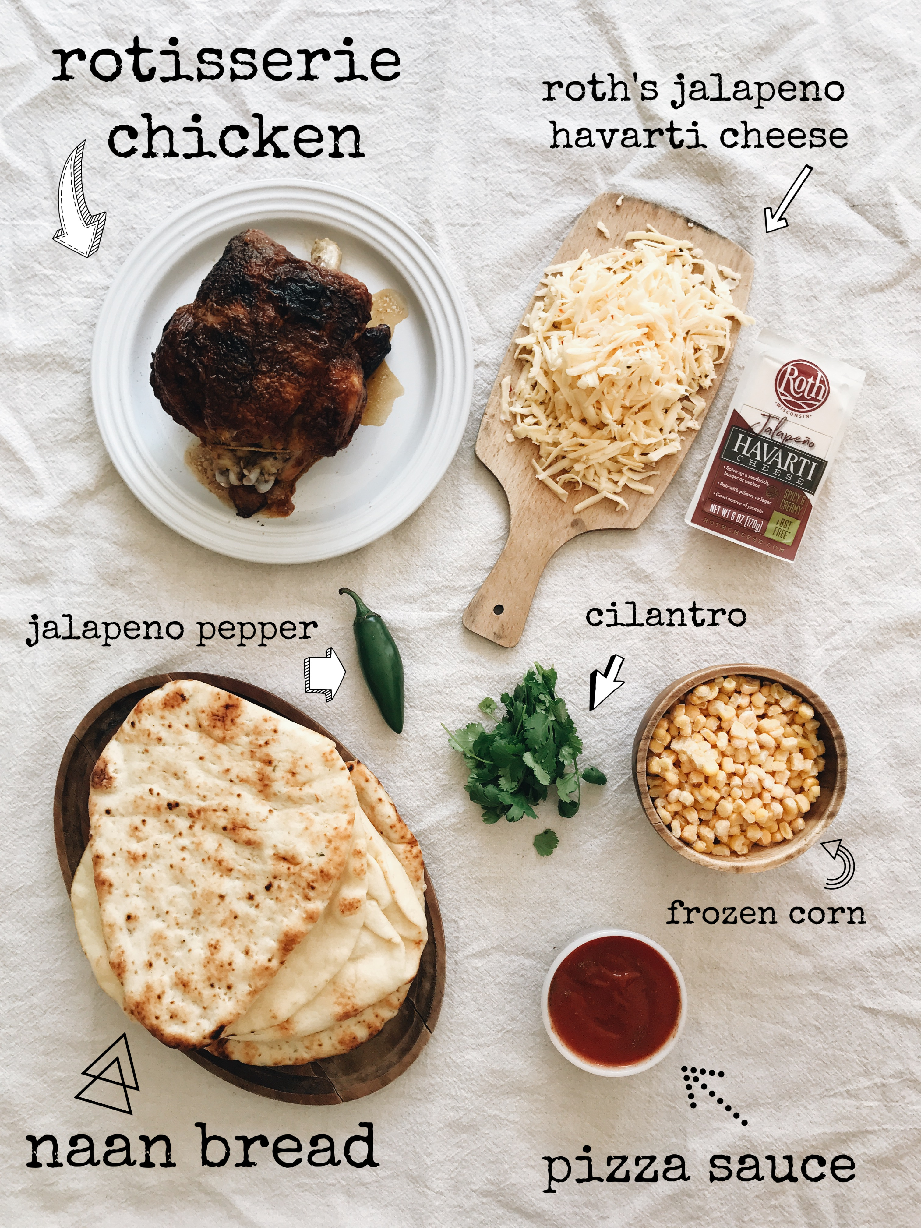 Chicken and Jalapeno Havarti Naan Pizzas / Bev Cooks