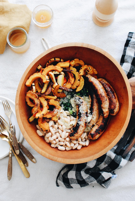 Chicken Sausage and Roasted Vegetable Kale Bowls / Bev Cooks