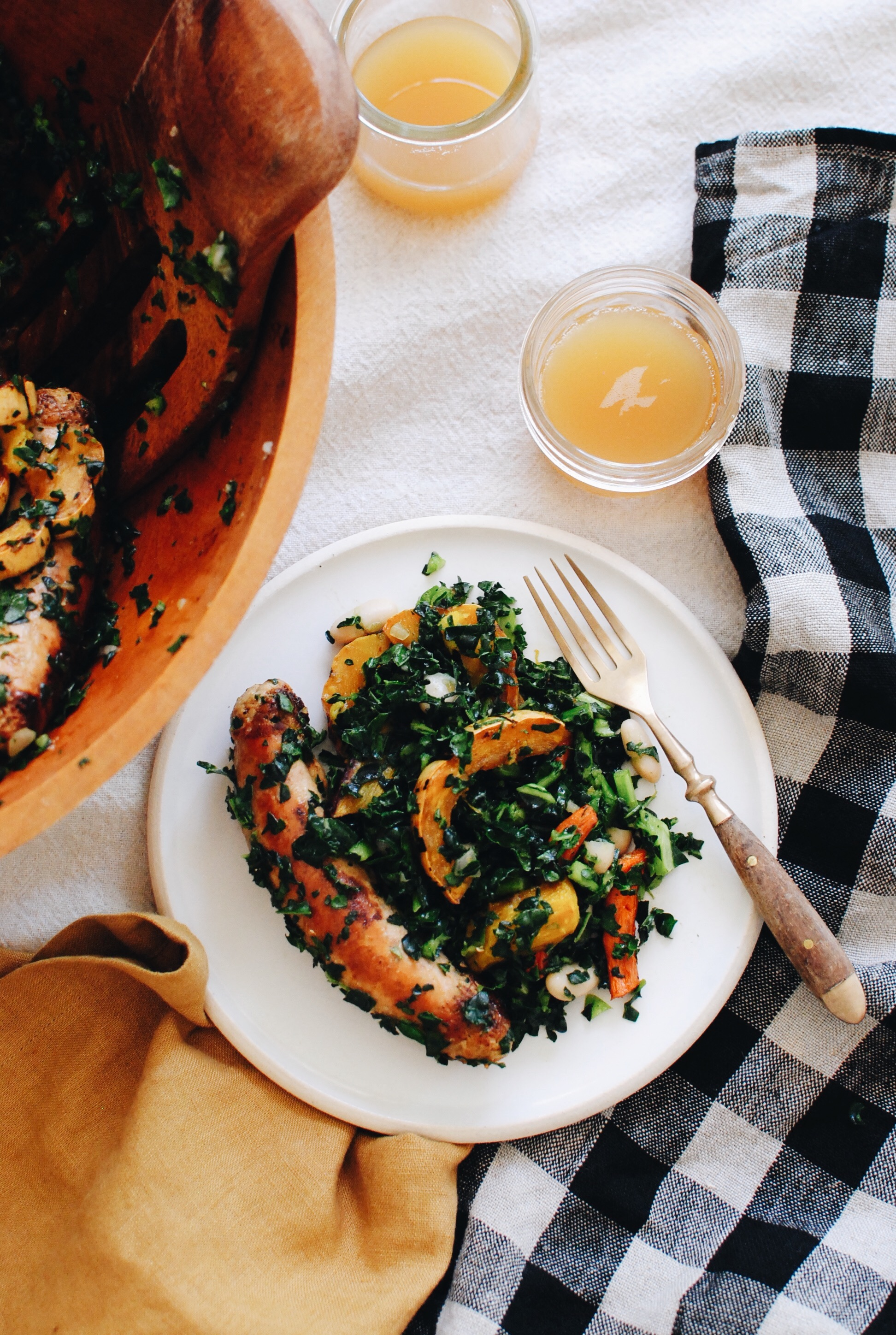 Chicken Sausage and Roasted Vegetable Kale Bowls / Bev Cooks
