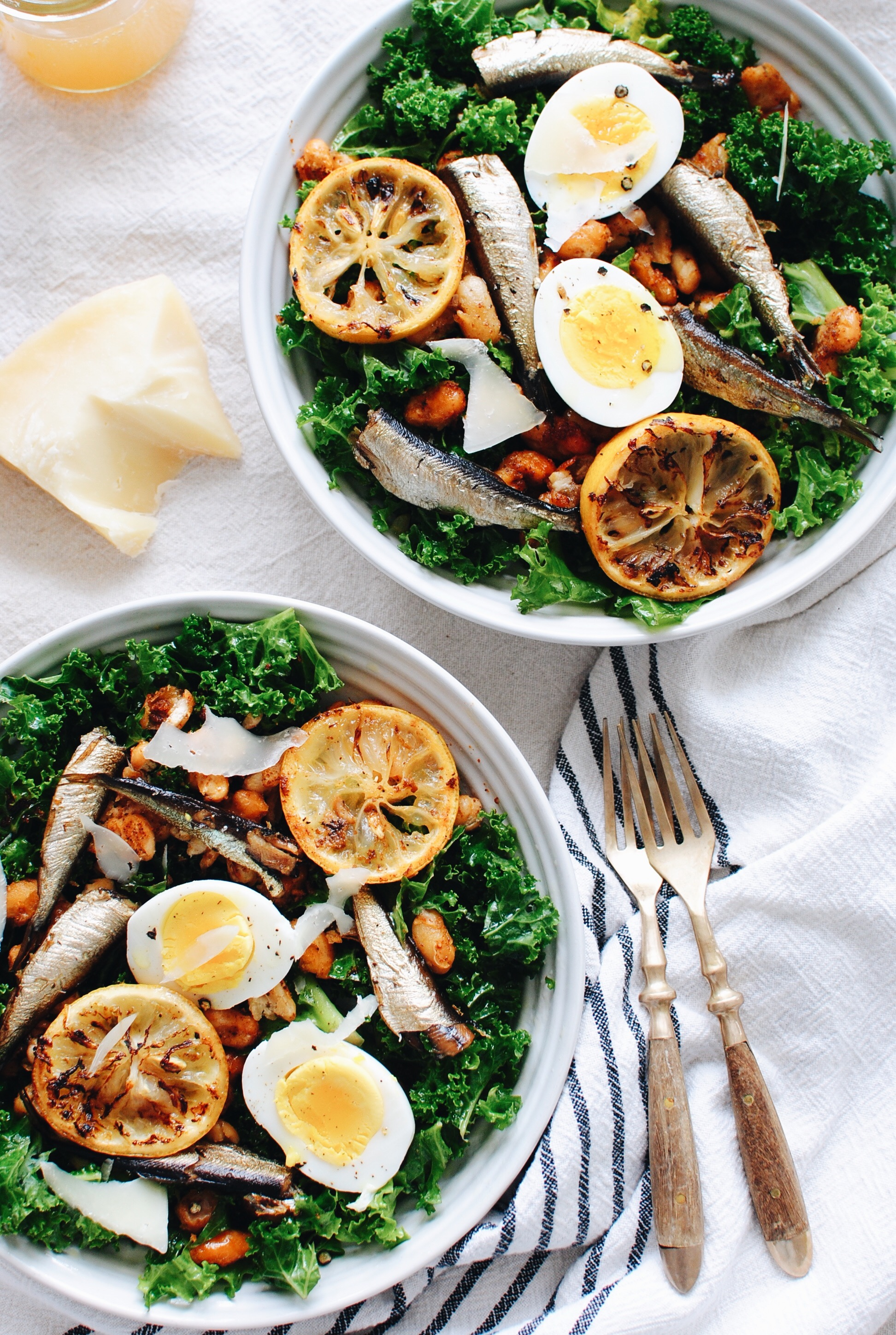 Kale Salad with Roasted Sardines and Beans / Bev Cooks