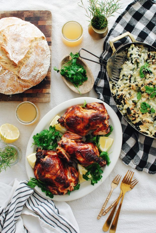 Buttermilk-Brined Cornish Game Hens with a Rustic Kale Gratin / Bev Cooks