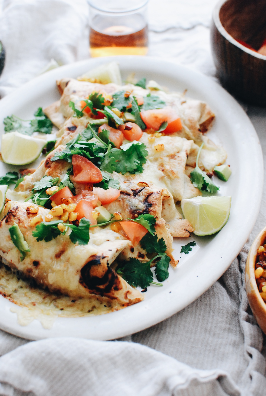 Salsa Verde Pork Burritos / Bev Cooks