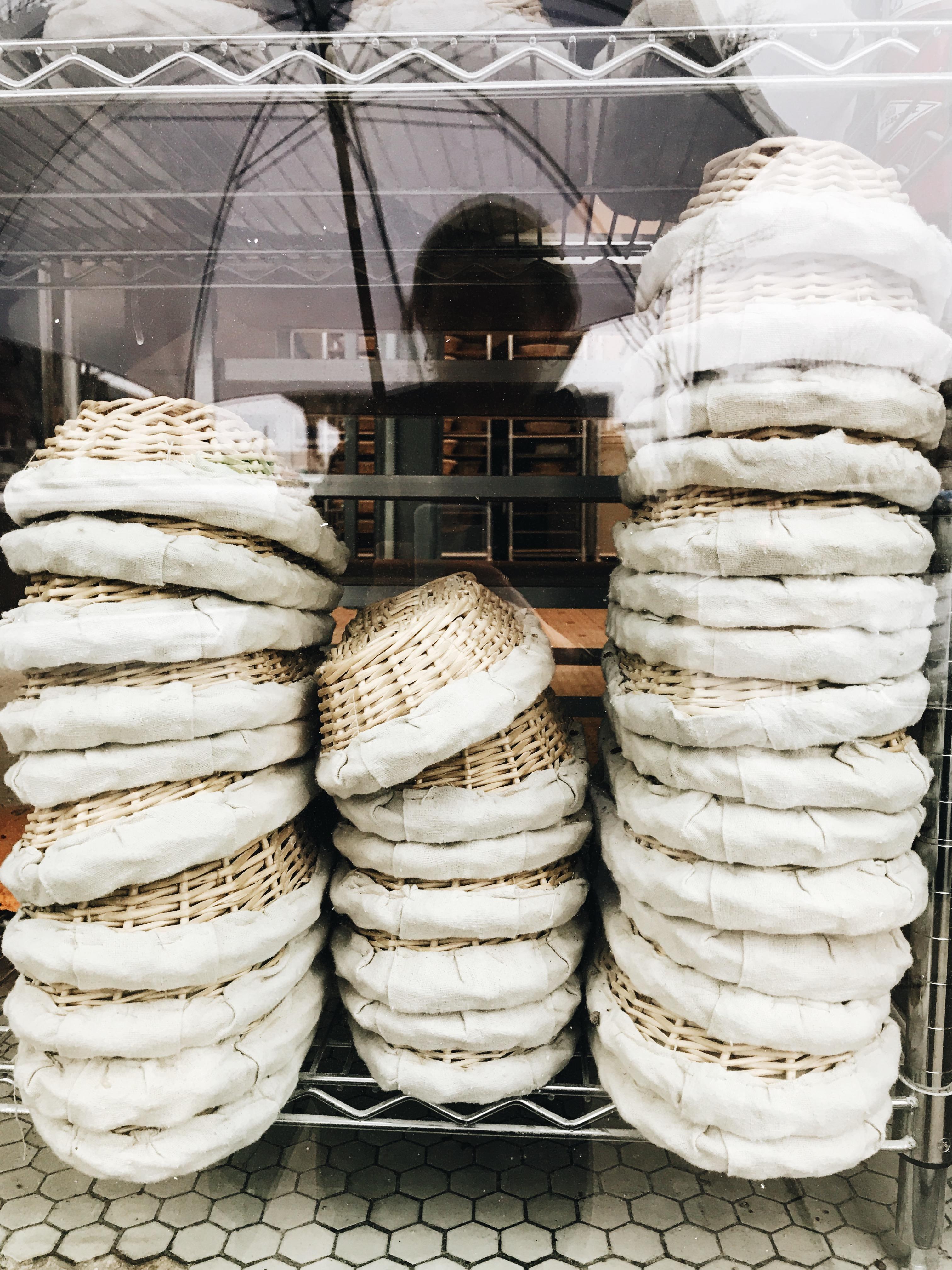 baskets in a window