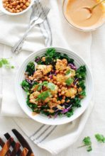 Roasted BBQ Cauliflower and Chickpea Bowls / Bev Cooks