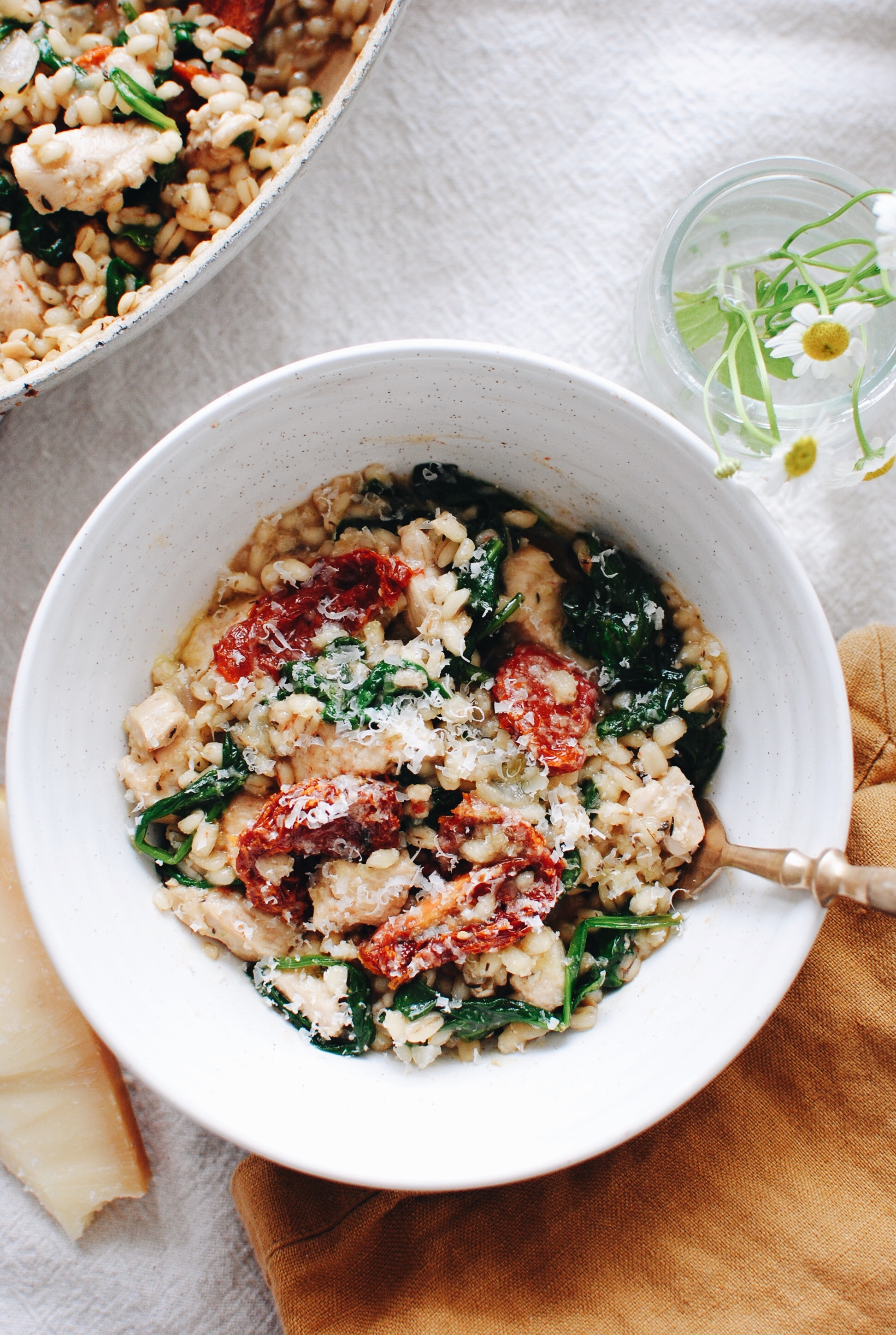 Barley Risotto with Chicken, Spinach and Sun-dried Tomatoes / Bev Cooks