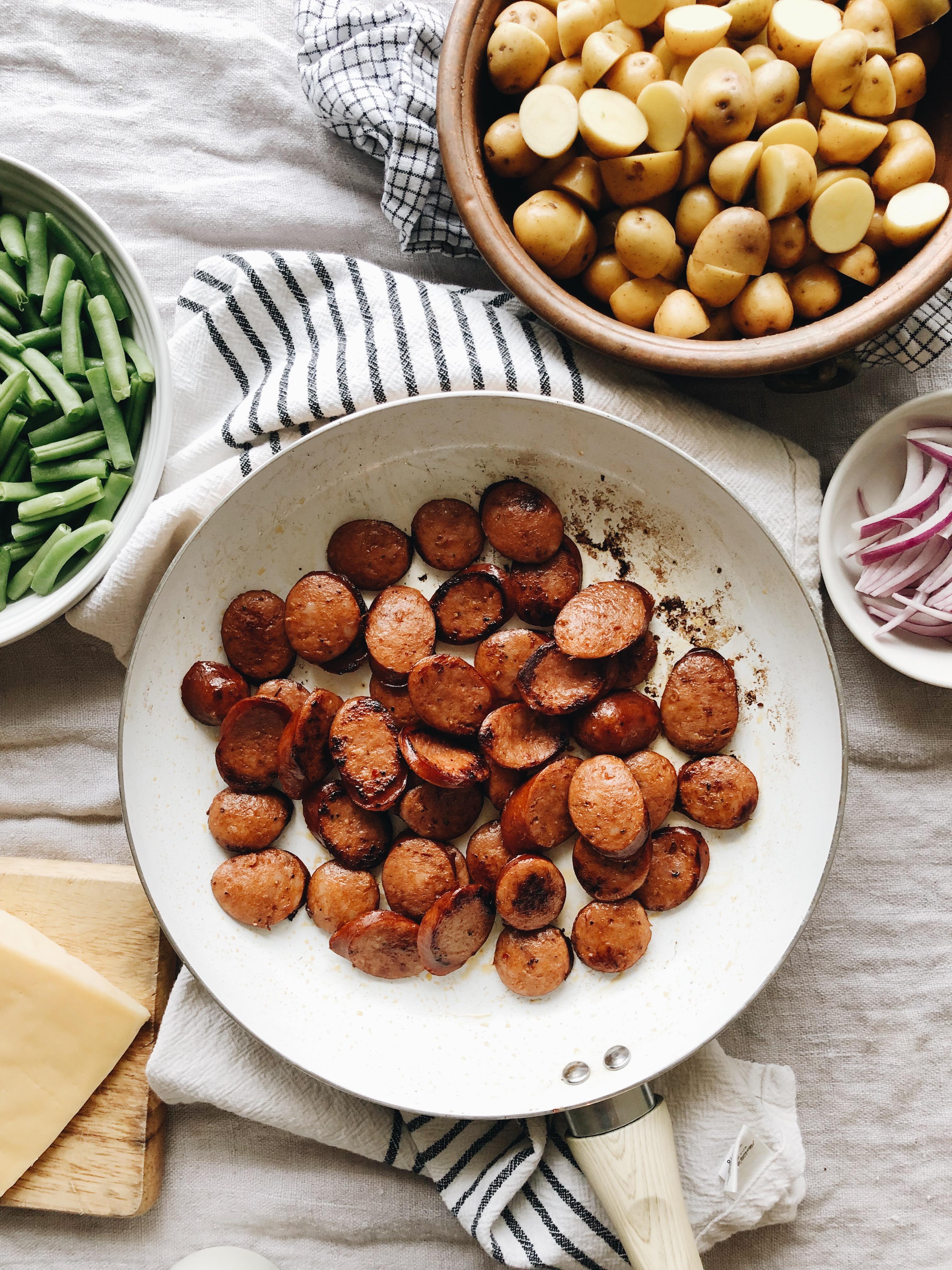 Cheesy Sausage, Green Bean and Potato Bake / Bev Cooks