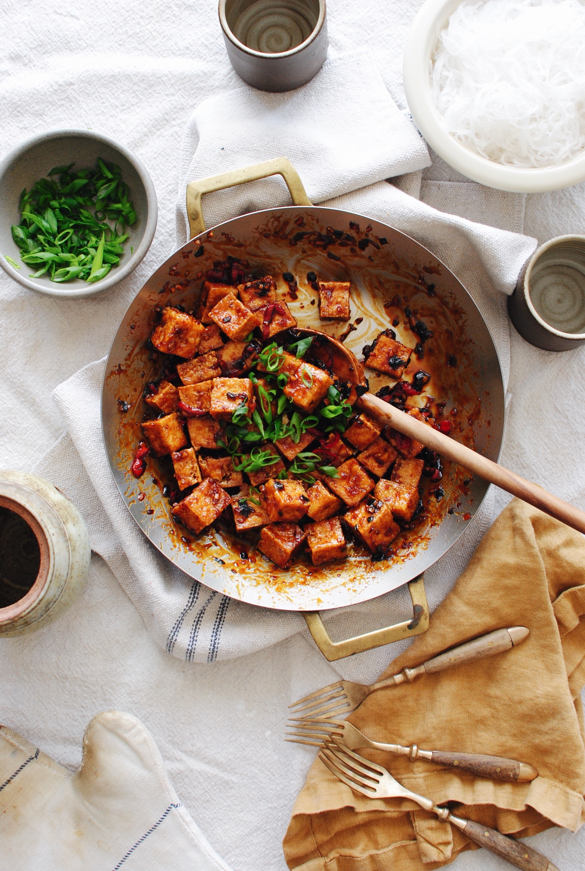 Sticky Tofu with Glass Noodles / Bev Cooks