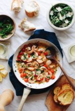 Shrimp Scampi with Tomatoes and Crusty Bread / Bev Cooks