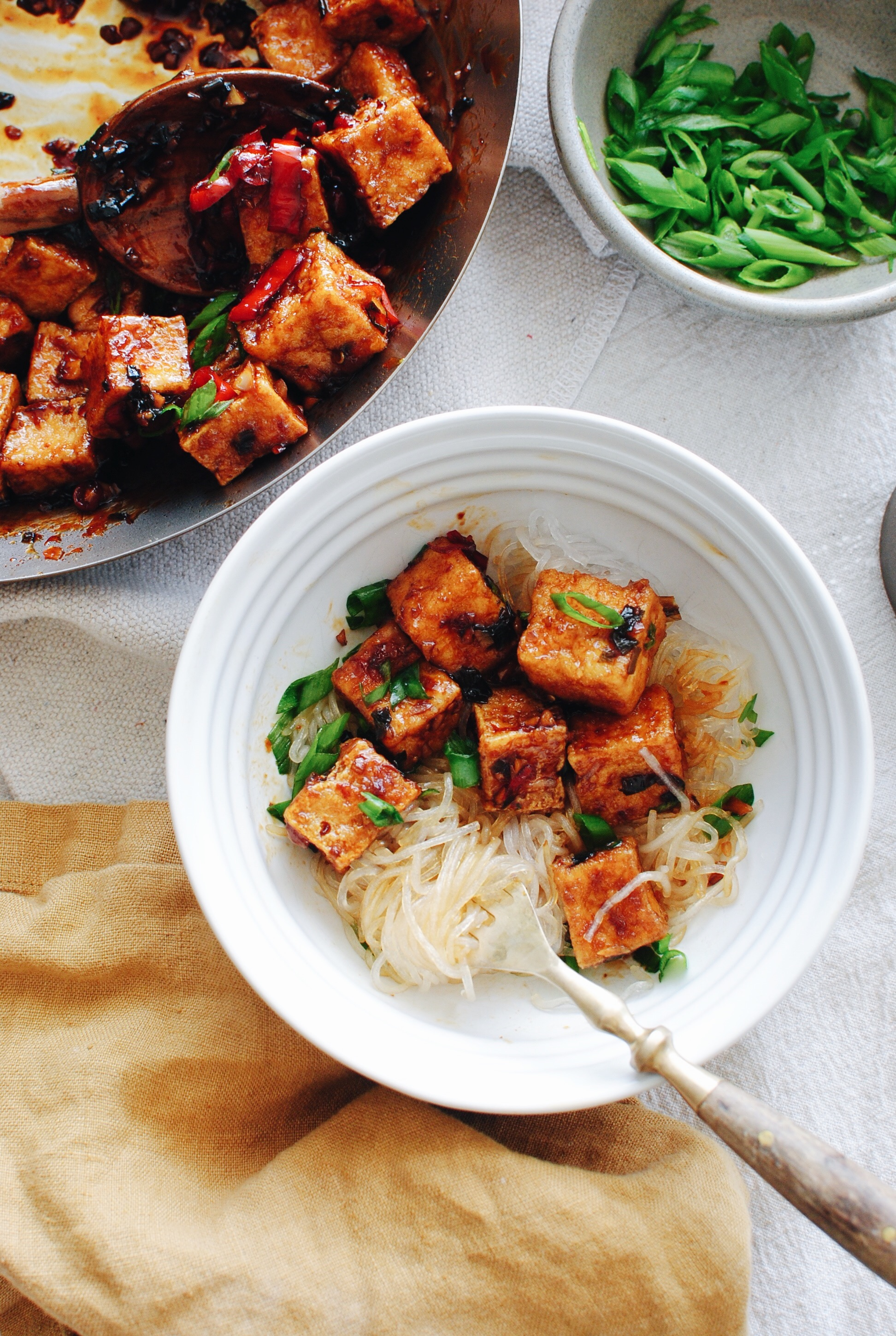 Sticky Tofu with Glass Noodles / Bev Cooks