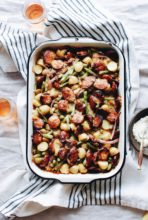 Cheesy Sausage, Green Bean and Potato Bake / Bev Cooks