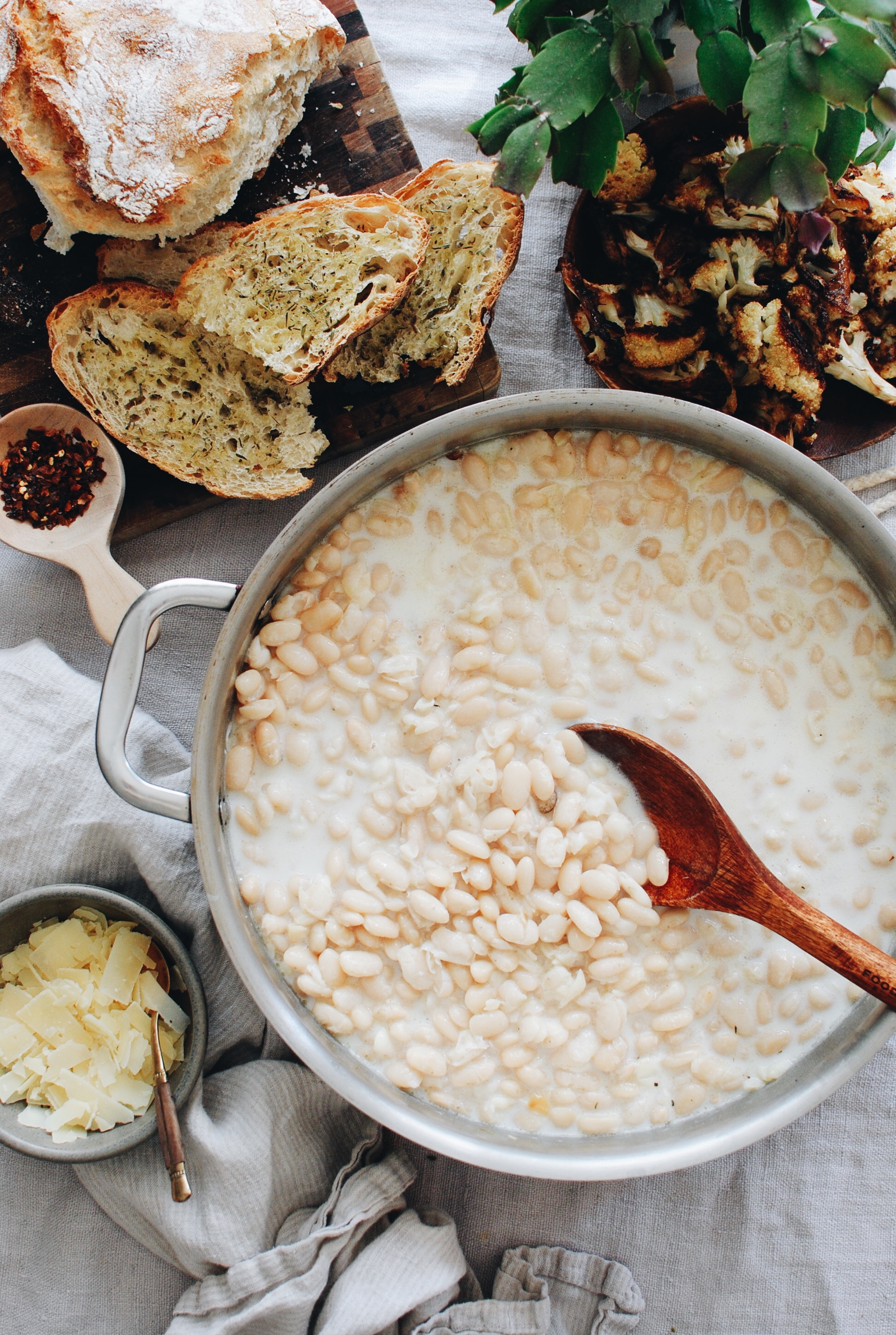Creamy White Beans with Roasted Cauliflower / Bev Cooks
