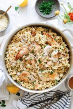 Creamy Chicken and Mushroom Pasta / Bev Cooks