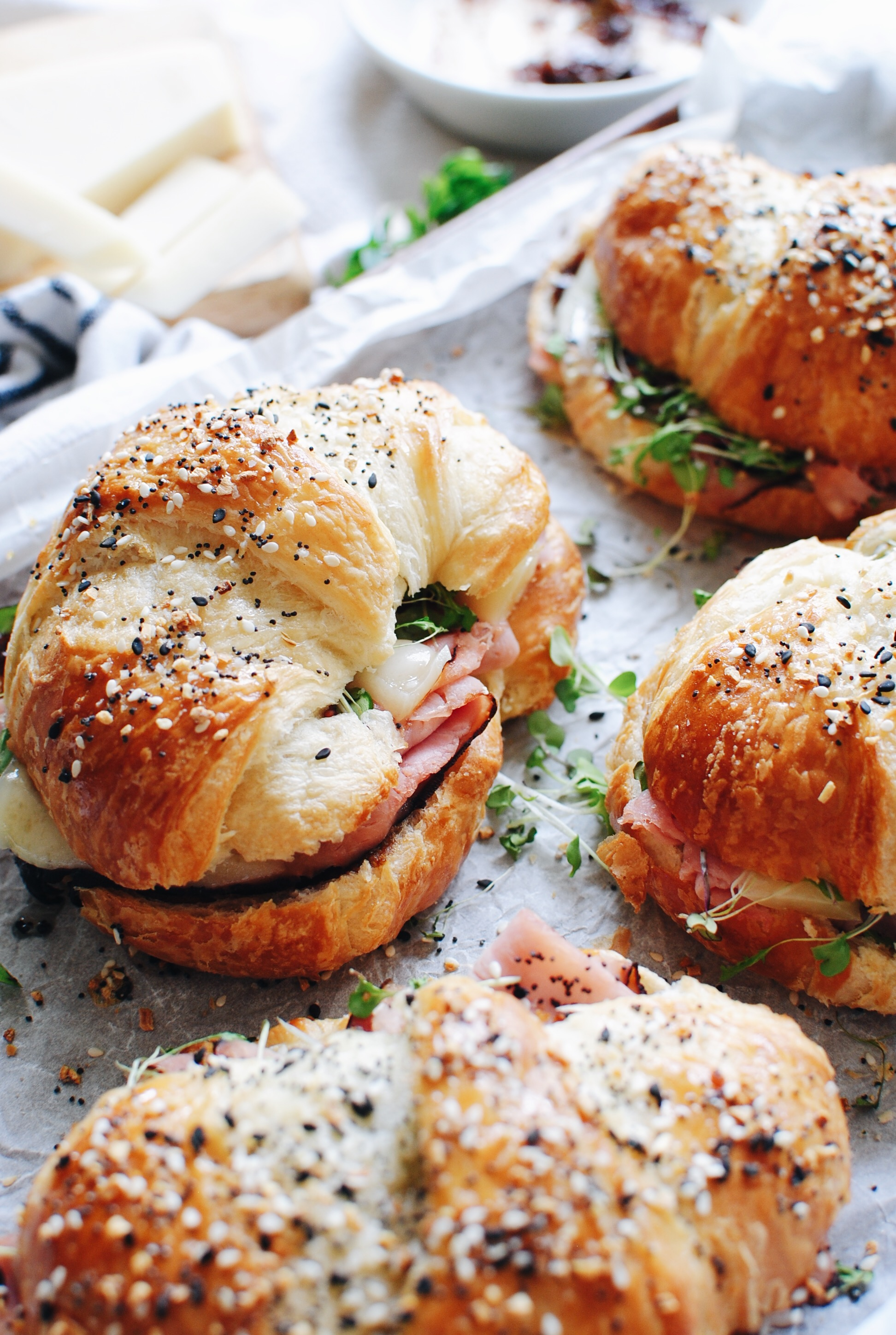 Hot Ham and Cheese Crossiant Sandwiches / Bev Cooks