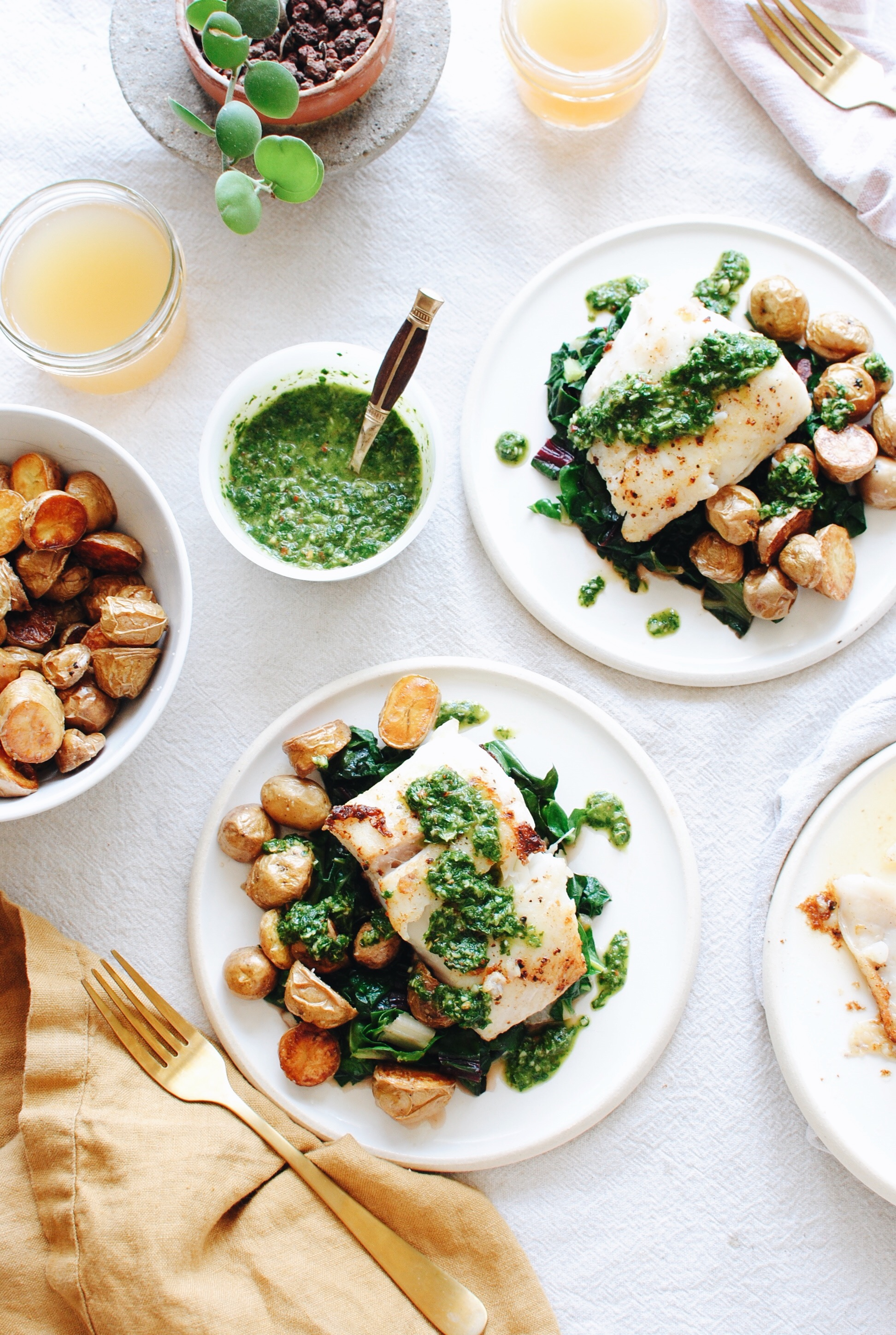 Halibut with Roasted Potatoes, Swiss Chard and a Chimichurri Sauce / Bev Cooks
