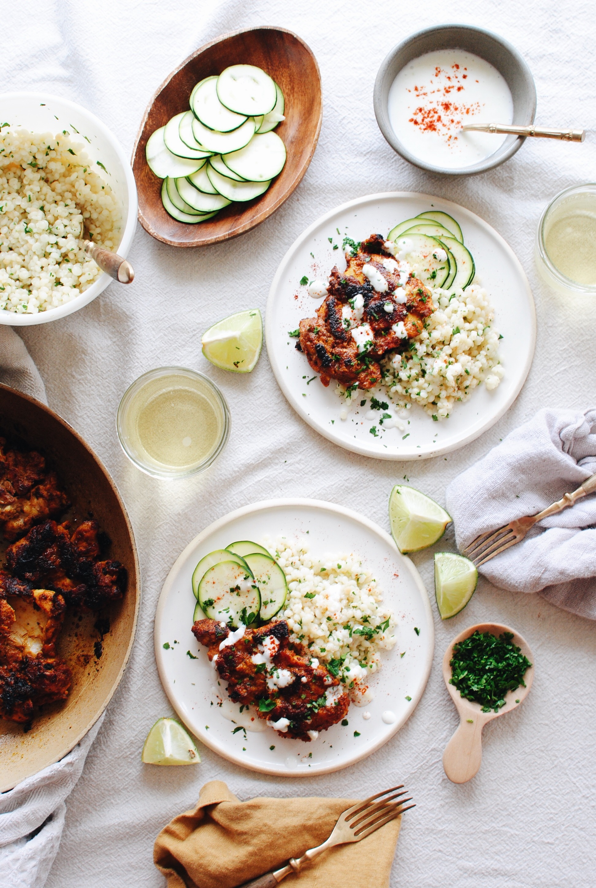 Tandoori Chicken Thighs with Israeli Couscous / Bev Cooks