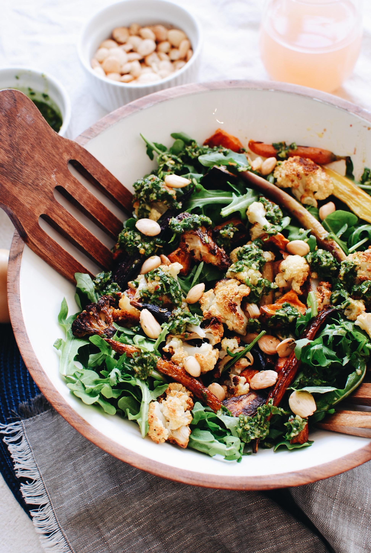 Roasted Veggie Salad with Arugula, Marcona Almonds and Chimichurri / Bev Cooks