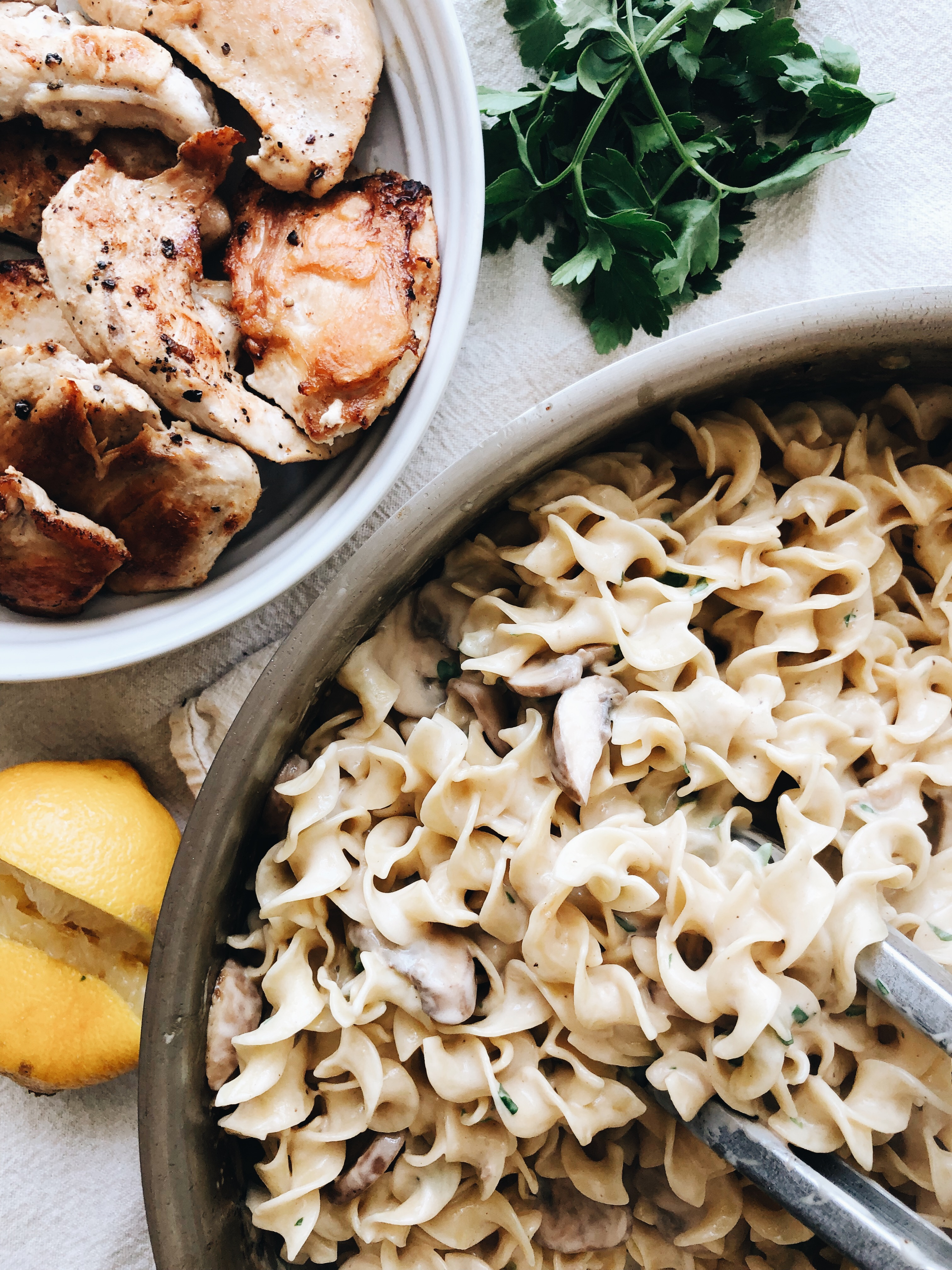 Creamy Chicken and Mushroom Pasta / Bev Cooks