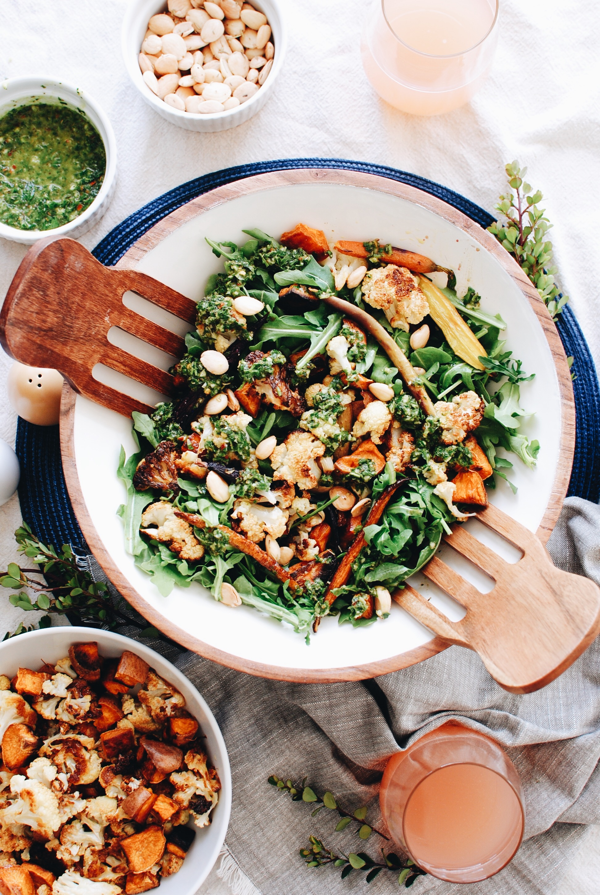 Roasted Veggie Salad with Arugula, Marcona Almonds and Chimichurri / Bev Cooks