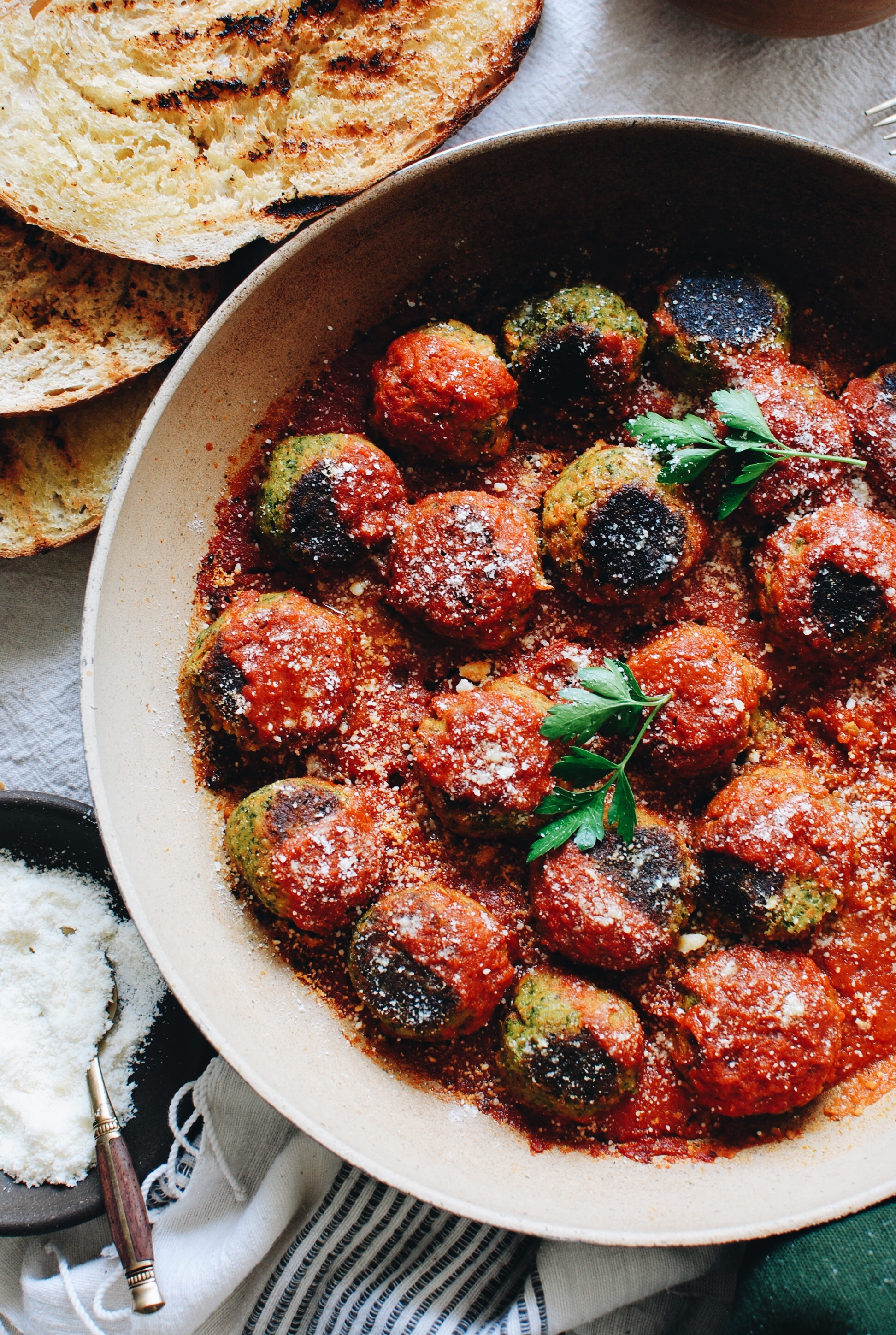 Vegetarian Meatballs with Grilled Bread / Bev Cooks