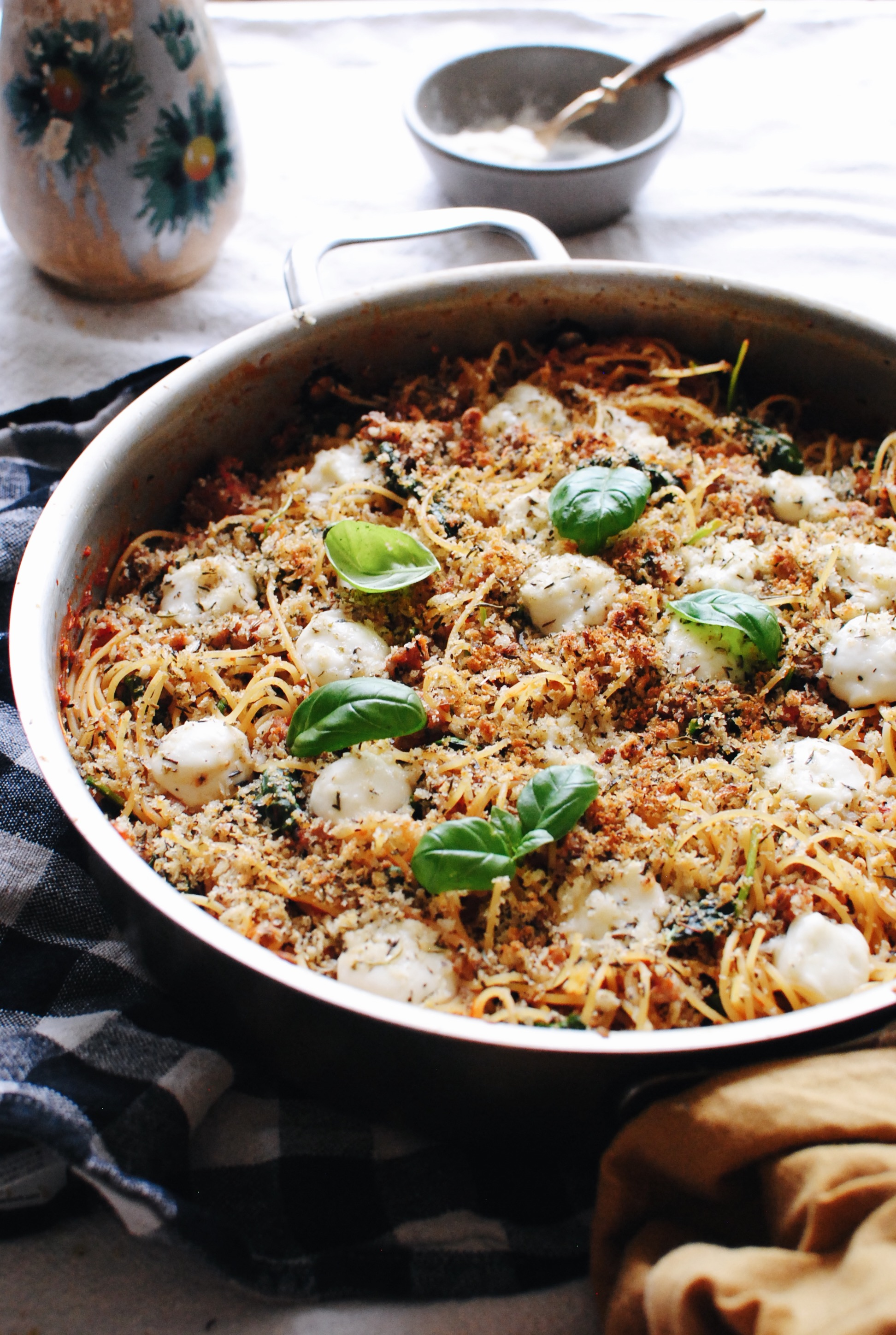 Spaghetti with Sausage, Spinach and Panko /  Bev Cooks