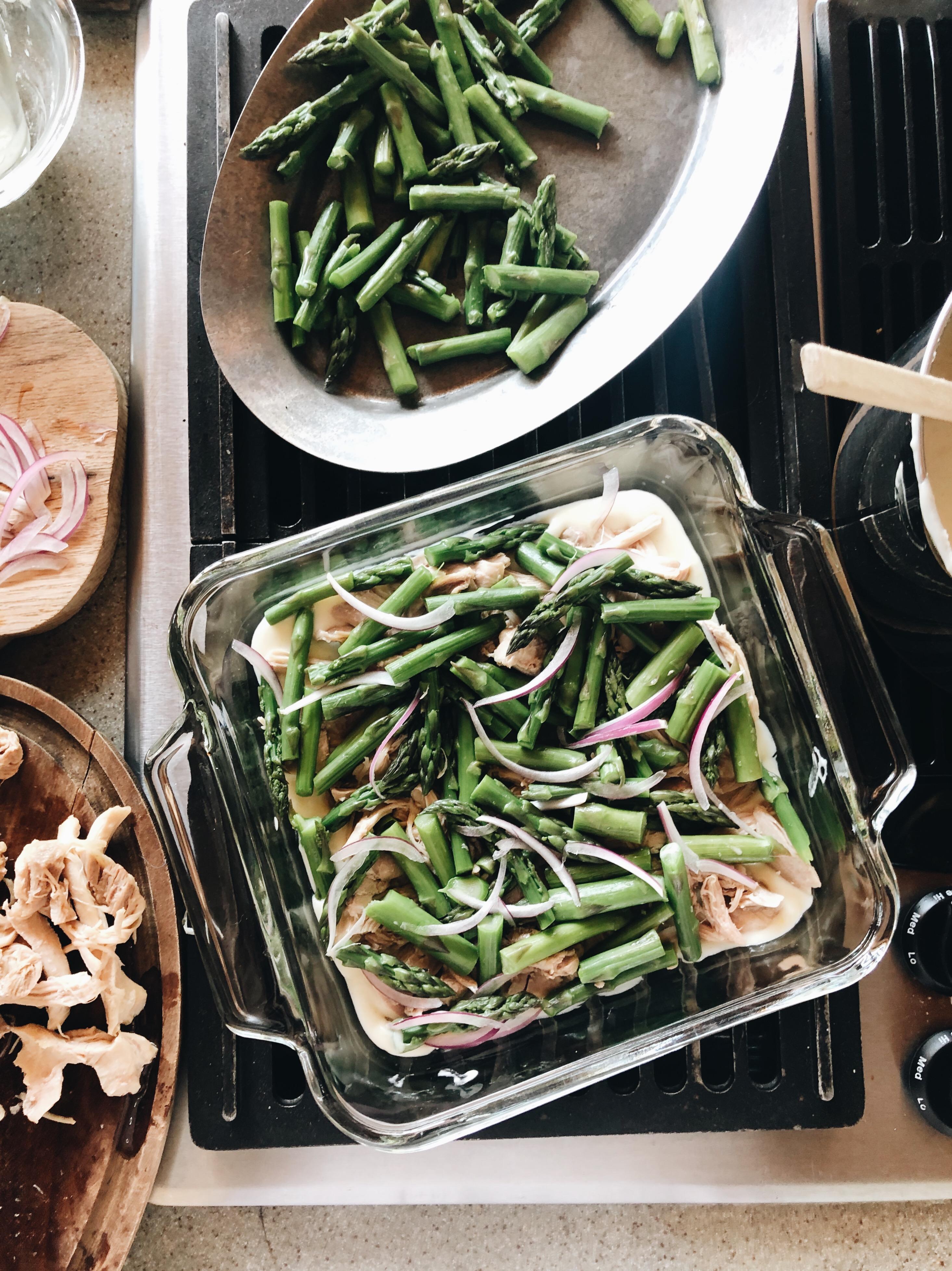 Creamy Chicken and Asparagus Casserole / Bev Cooks