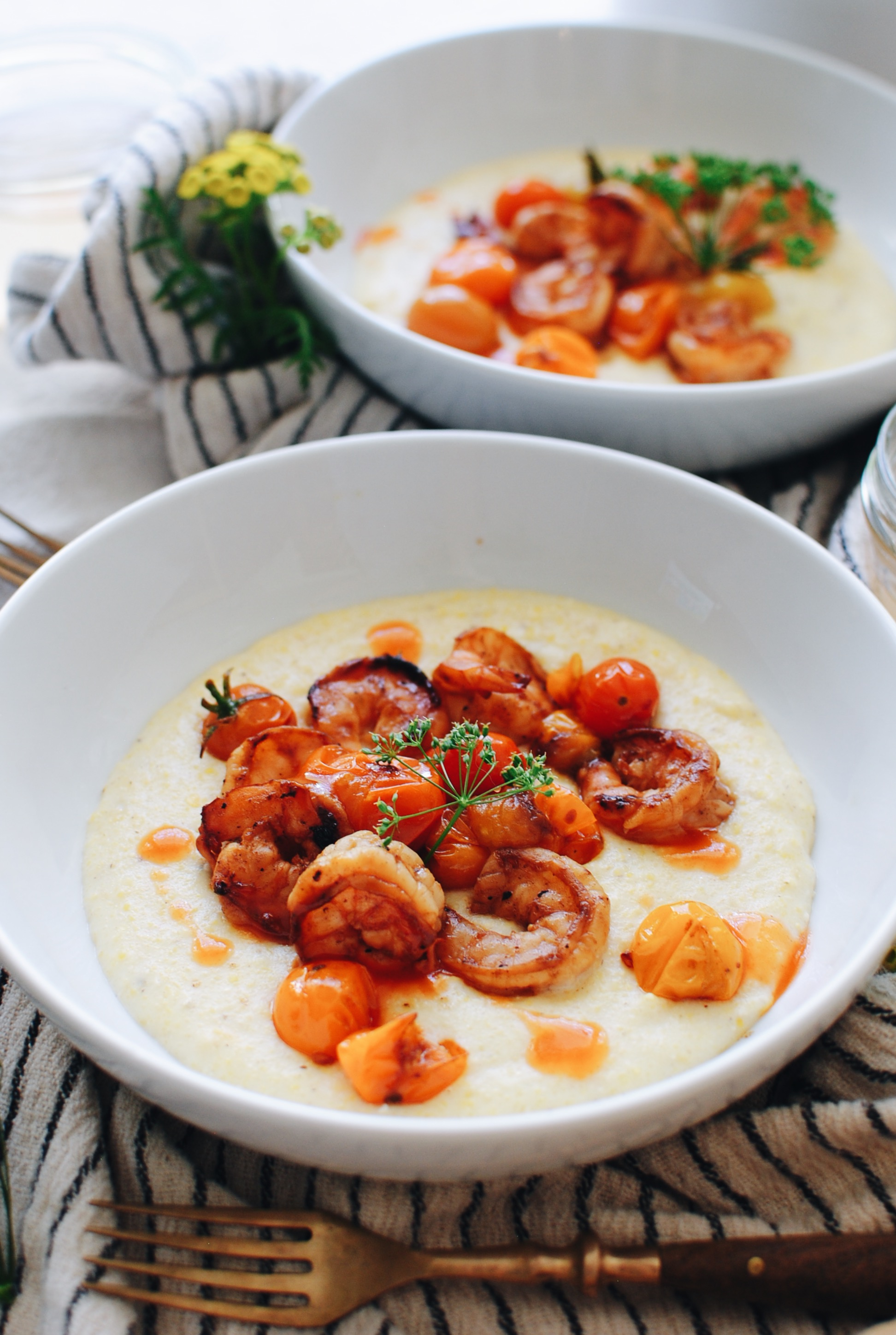 Cheesy Corn Grits with Fiery Tomatoes / Bev Cooks