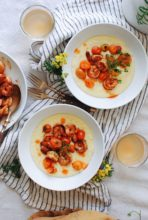 Cheesy Corn Grits with Fiery Shrimp / Bev Cooks