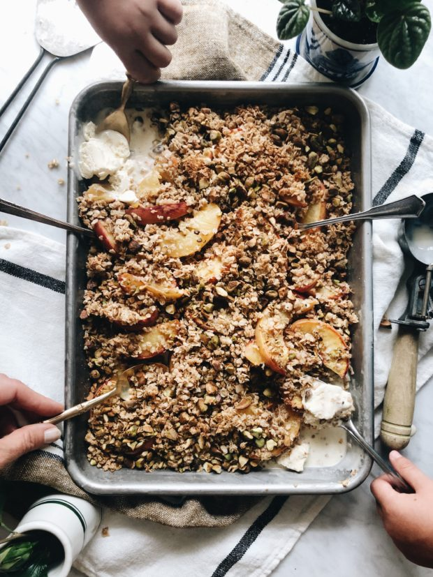 Simple Peach and Pistachio Crisp / Bev Cooks