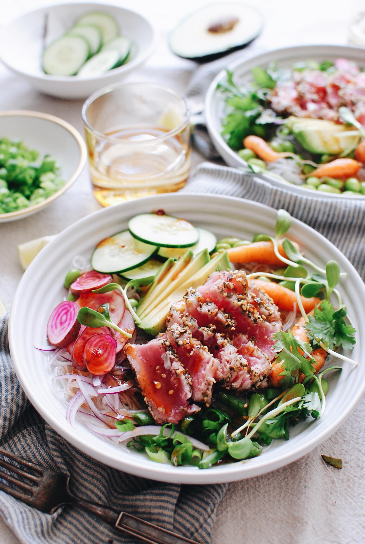 Seared Ahi Tuna Bowls / Bev Cooks