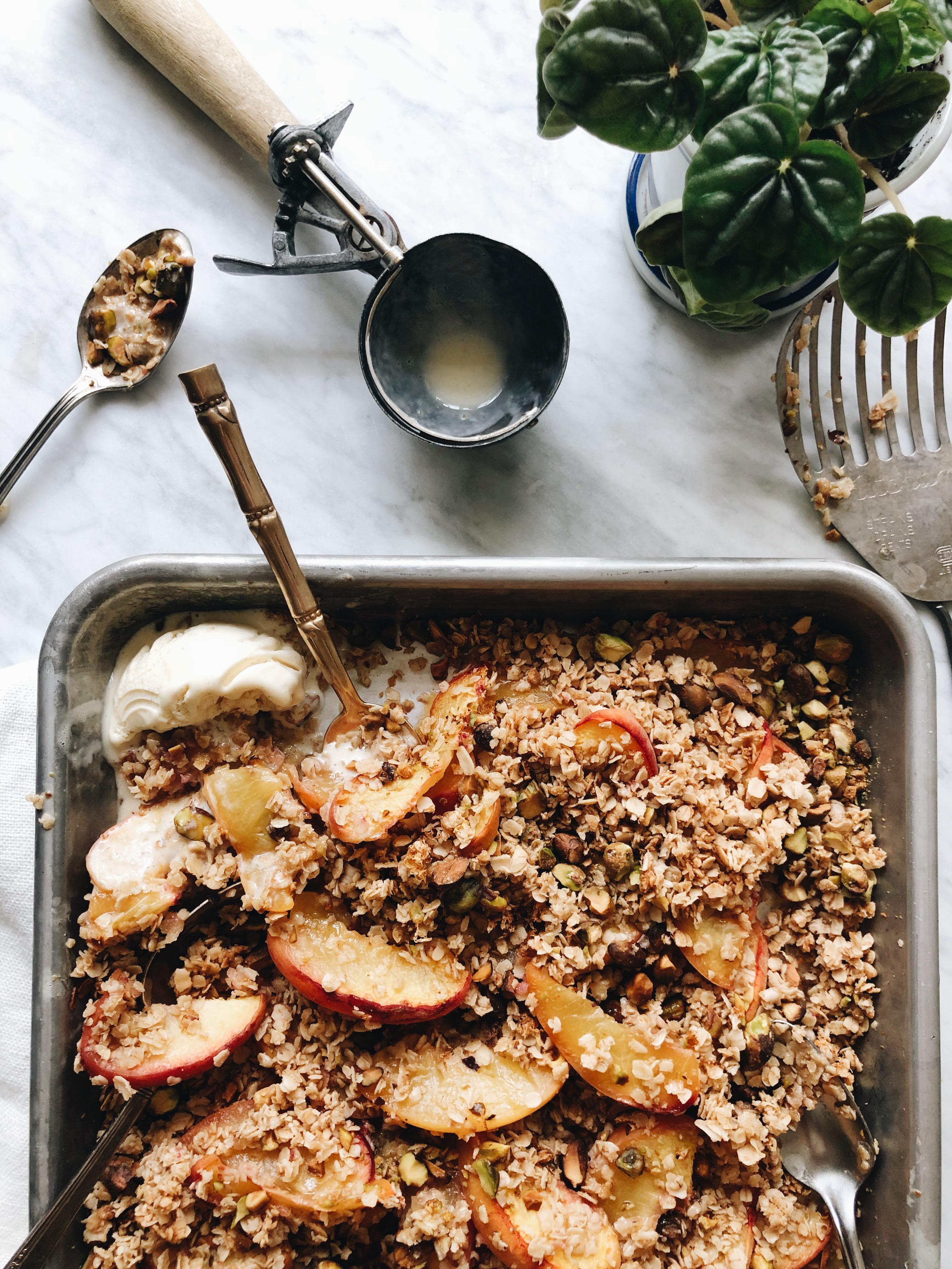 Simple Peach and Pistachio Crisp / Bev Cooks