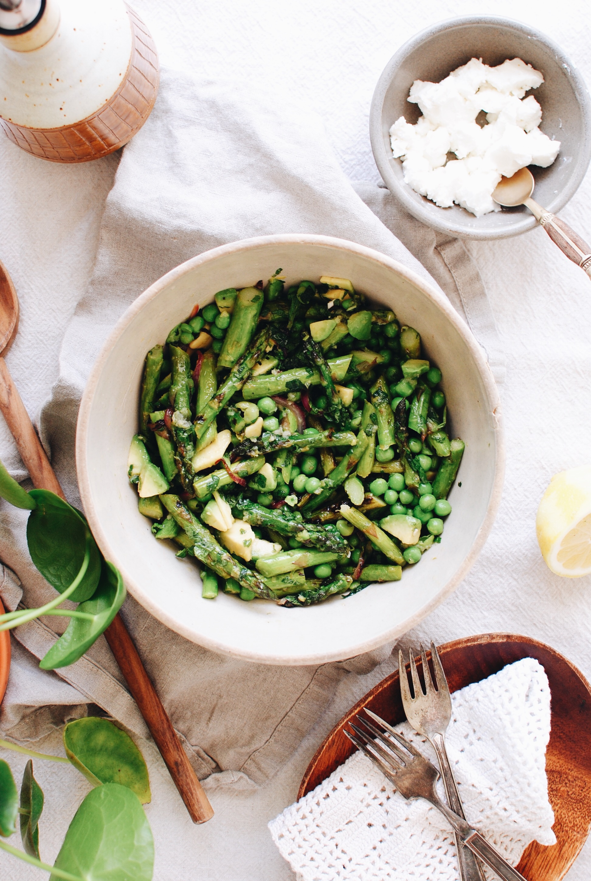 Grilled Asparagus Salad with Peas and Mint / Bev Cooks