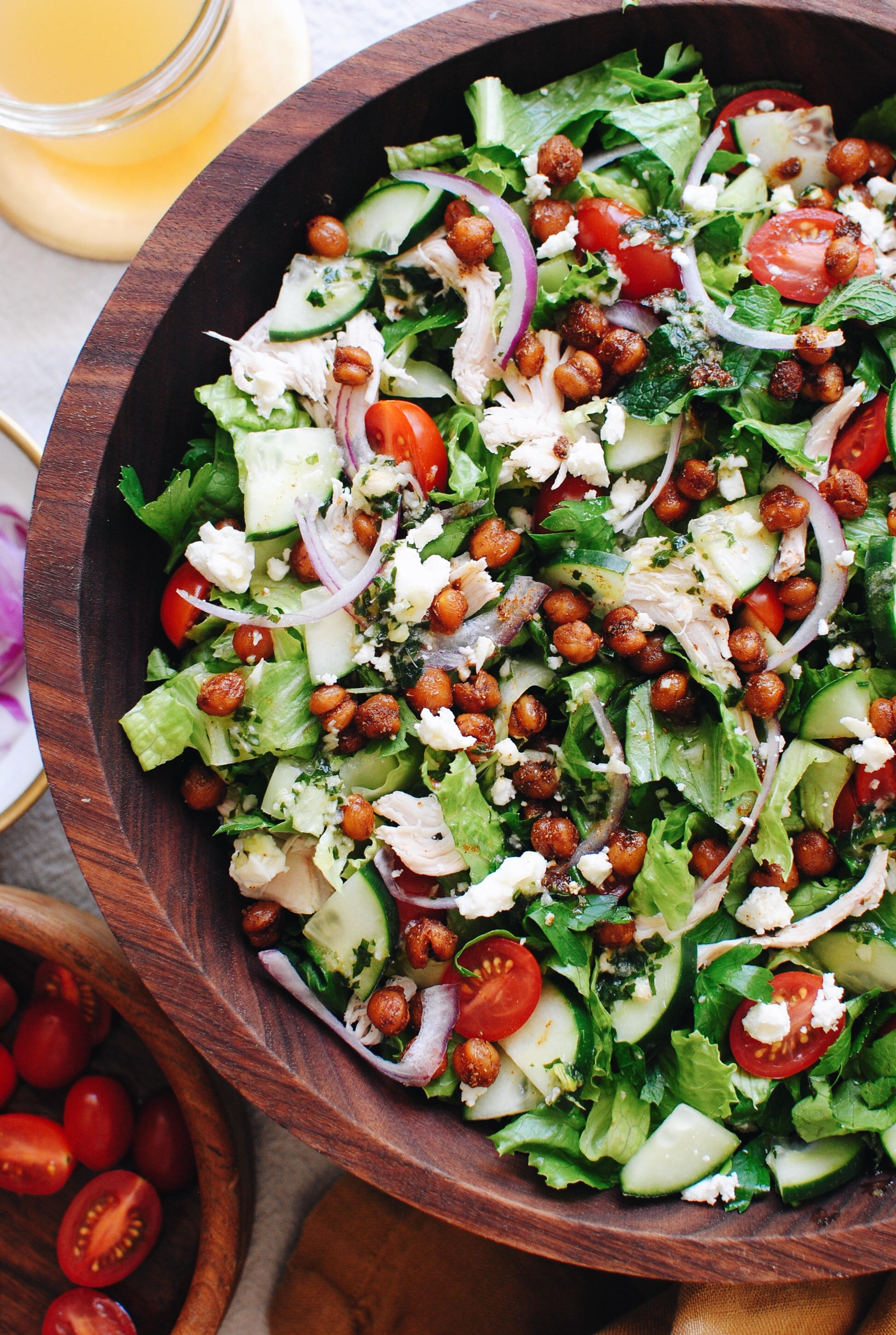 Loaded Greek Salad with Chicken and Crispy Chickpeas / Bev Cooks