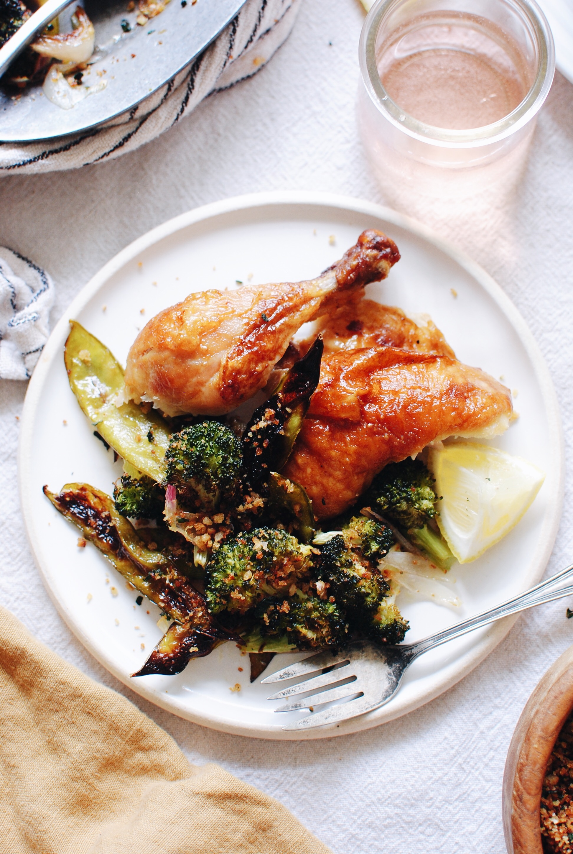 Roasted Broccoli and Snow Peas with Garden Breadcrumbs / Bev Cooks