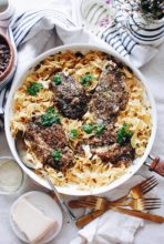 Blackened Chicken Pasta with Butter Wine Pan Sauce / Bev Cooks